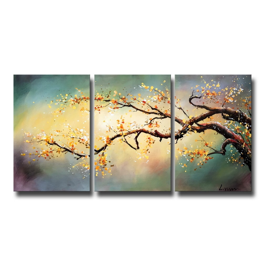 Shop Hand-painted \'Yellow Plum Blossom\' 3-piece Gallery Wrapped ...