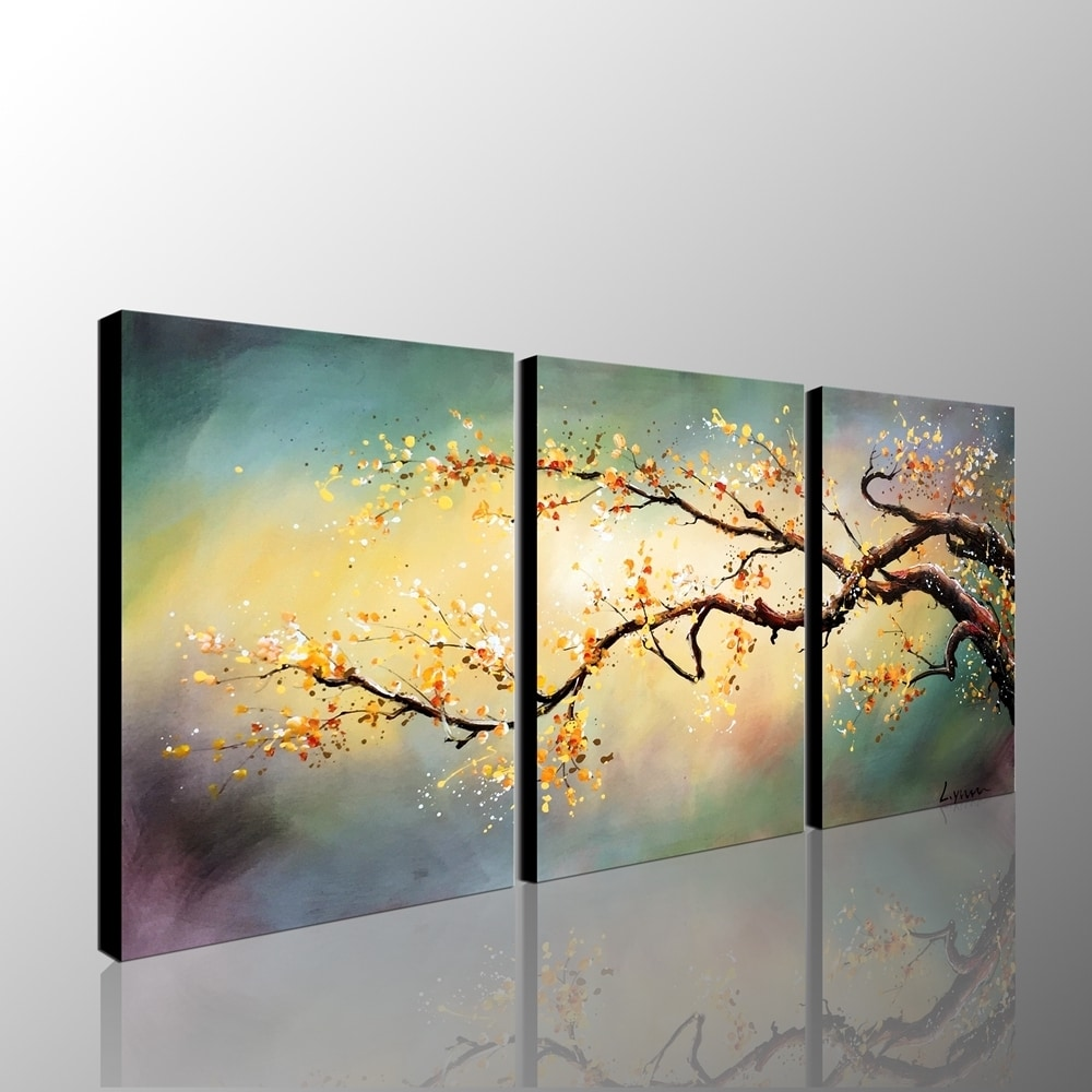 Hand-painted \'Yellow Plum Blossom\' 3-piece Gallery Wrapped Canvas ...