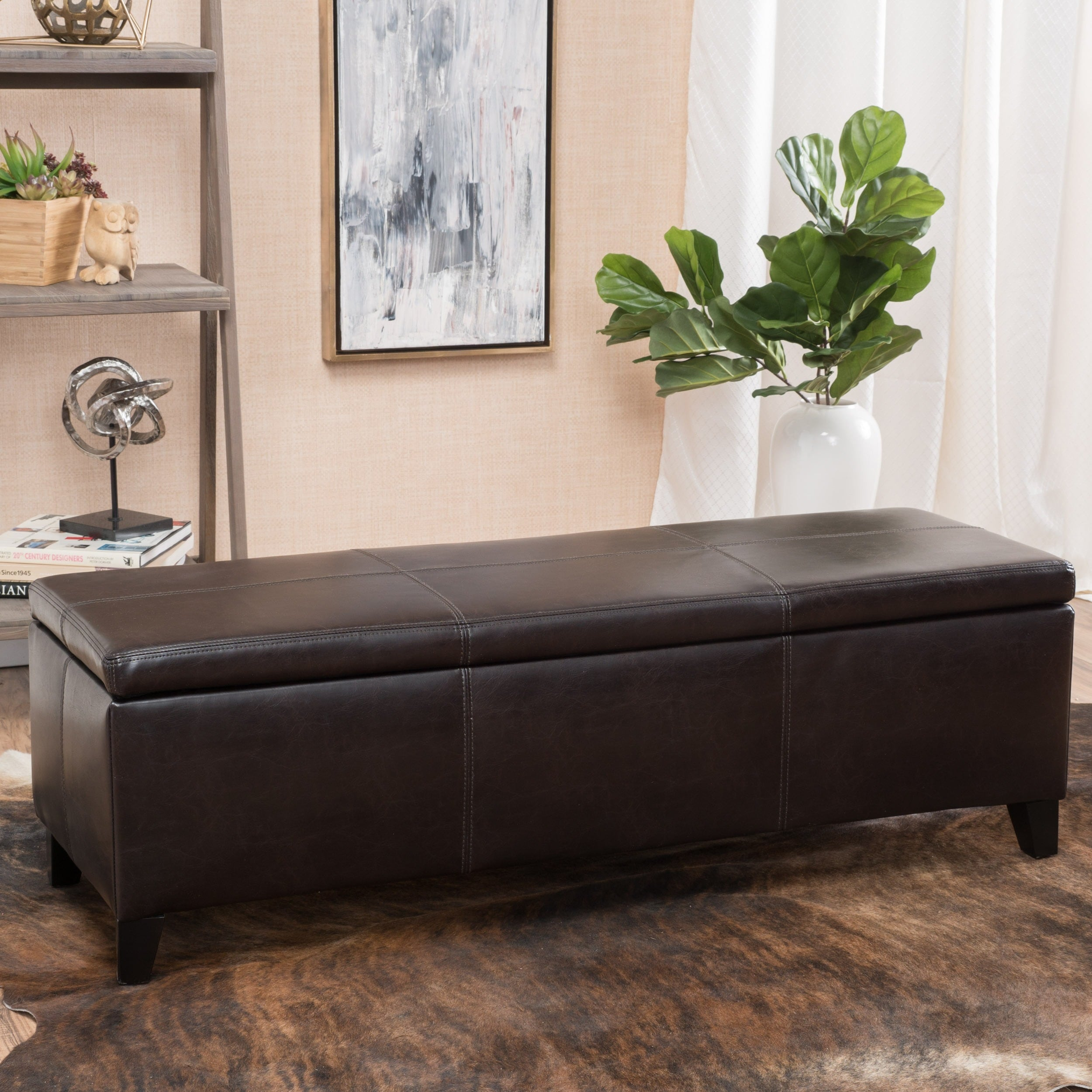 Lucinda Faux Leather Storage Bench   Free Shipping Today   Overstock    18383734