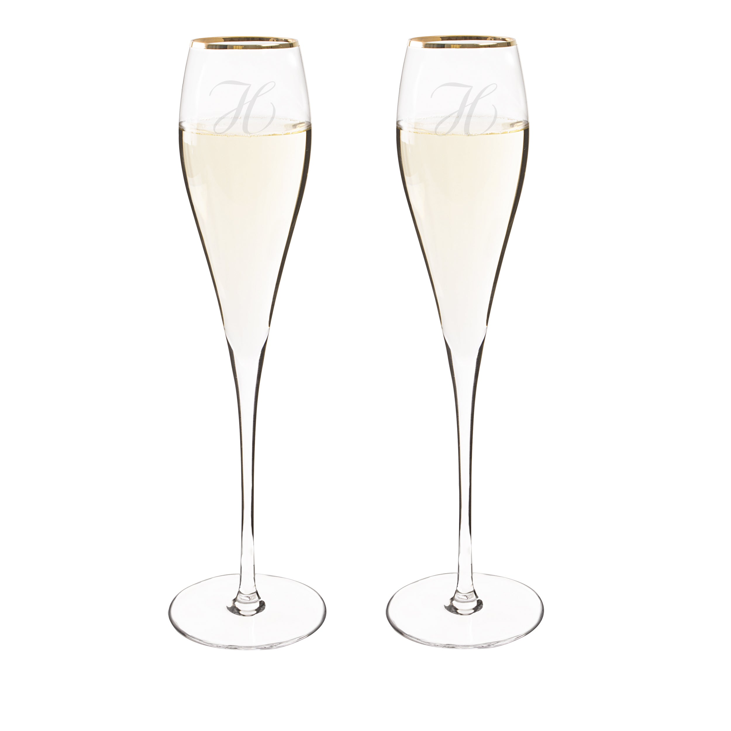 Personalized 7 ounce Gold Rim Champagne Flutes Set of 2 Free