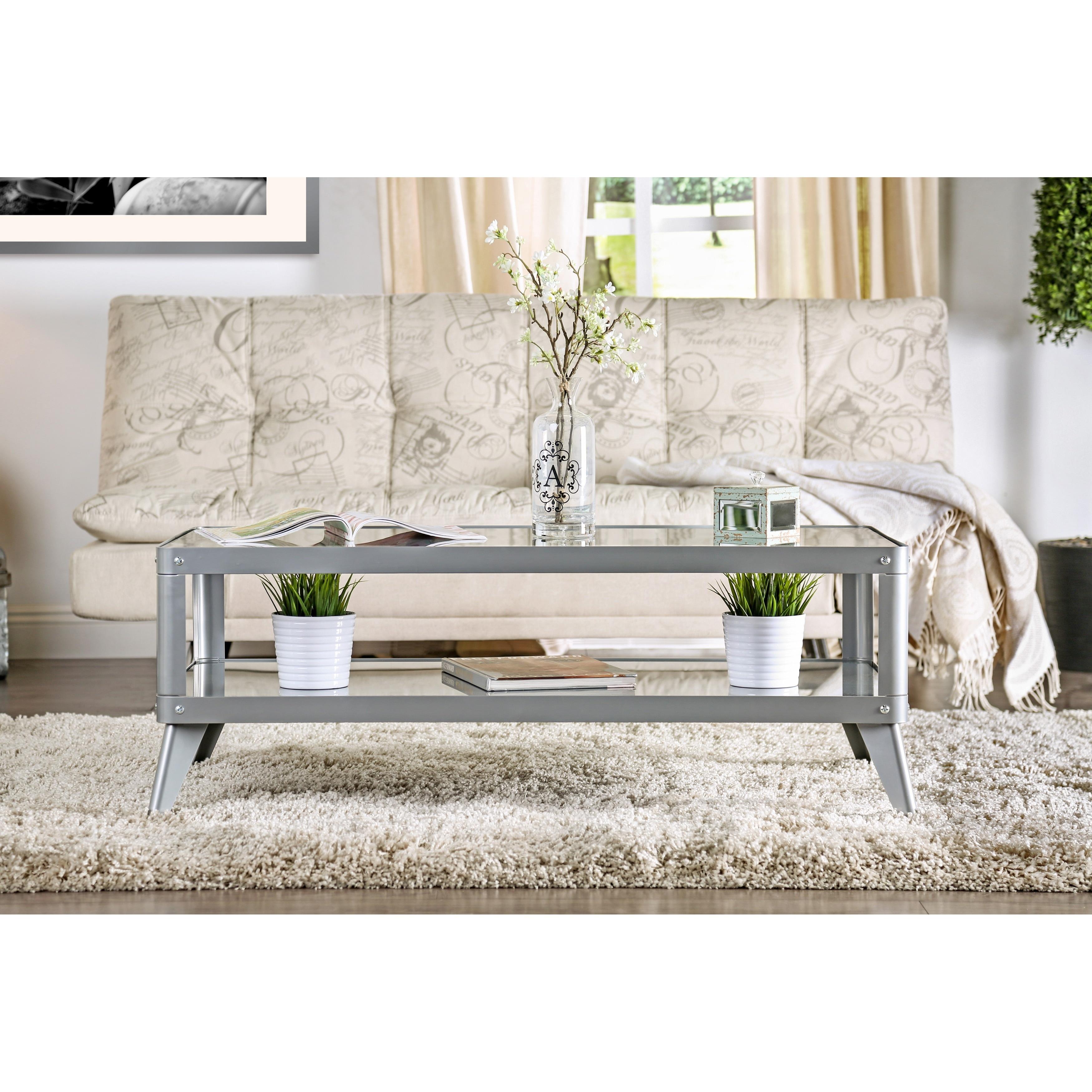 Furniture of America Linden Modern 3 piece Glass Top Metal Accent