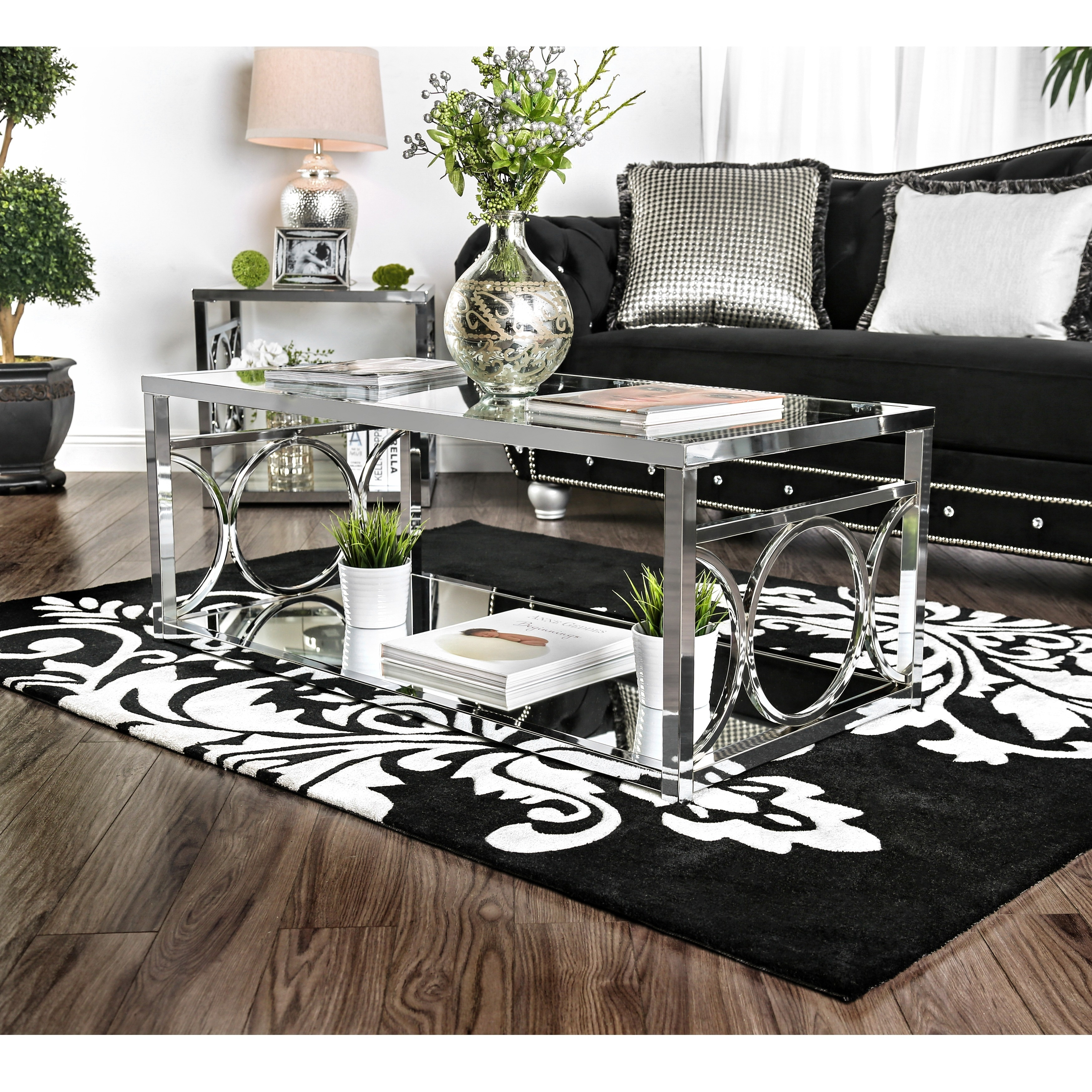 Shop furniture of america mishie contemporary 3 piece glass top accent table set free shipping today overstock com 11421622
