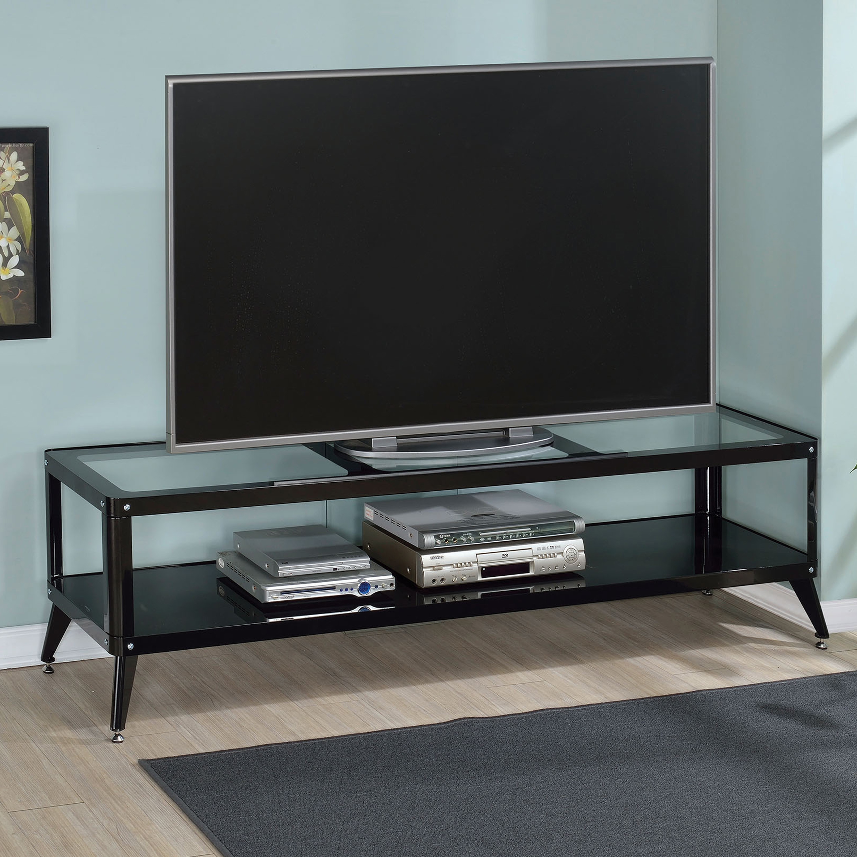Shop Furniture Of America Linden Modern Glass Top Tv Stand On Sale