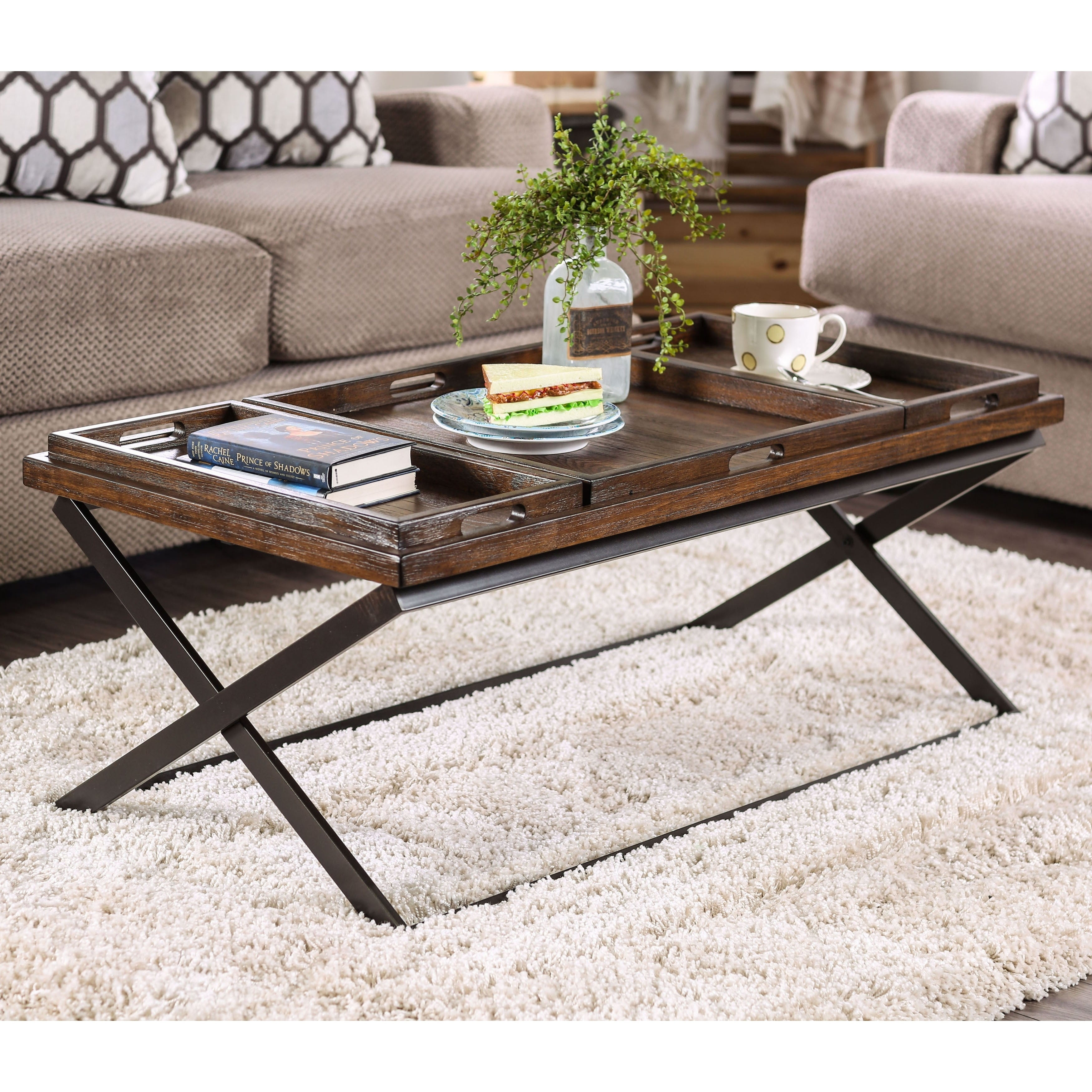Ter Urban Oak Removable Trays Coffee Table By Foa On Ships To Canada 11421645