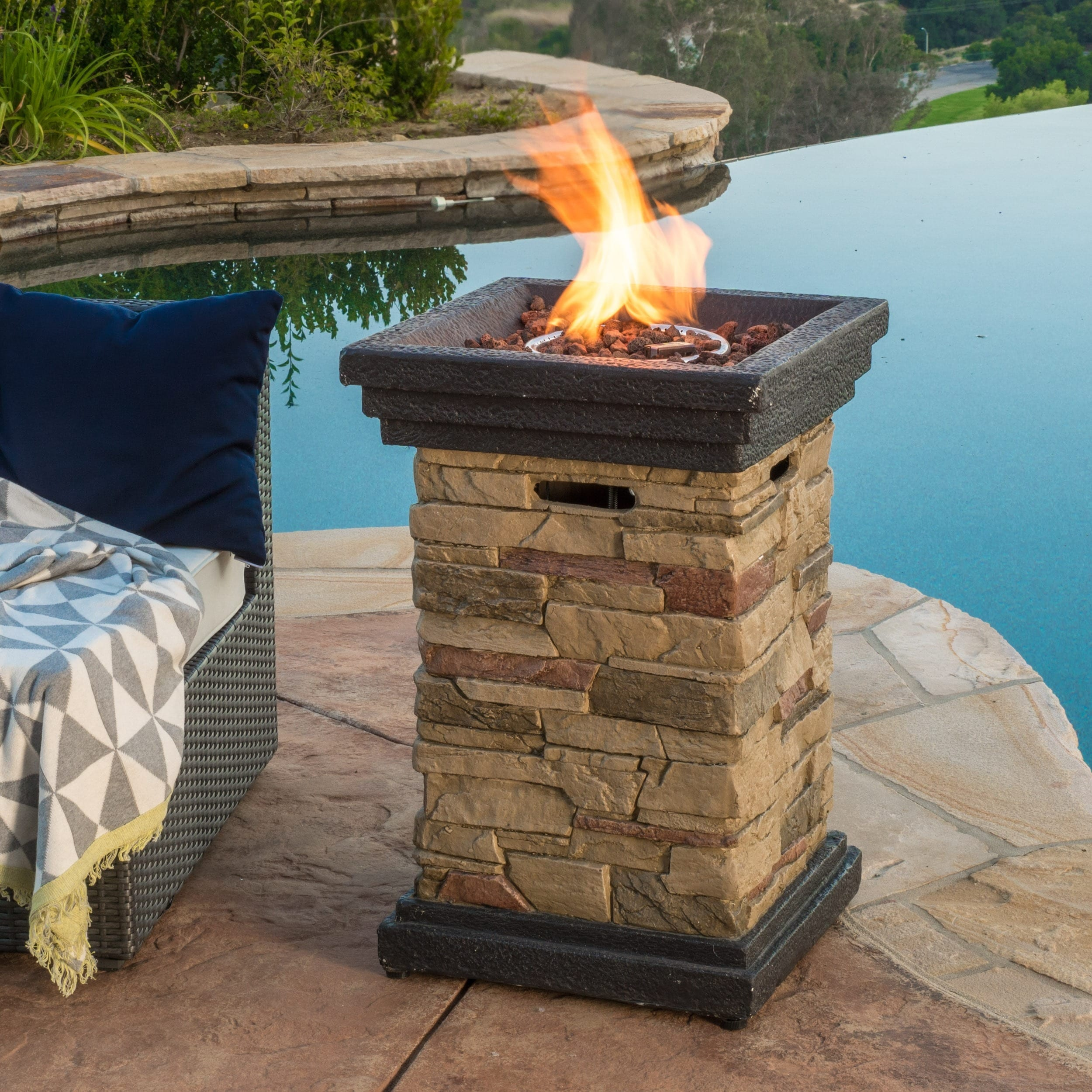 Chesney Outdoor 19 Inch Column Propane Fire Pit With Lava Rocks