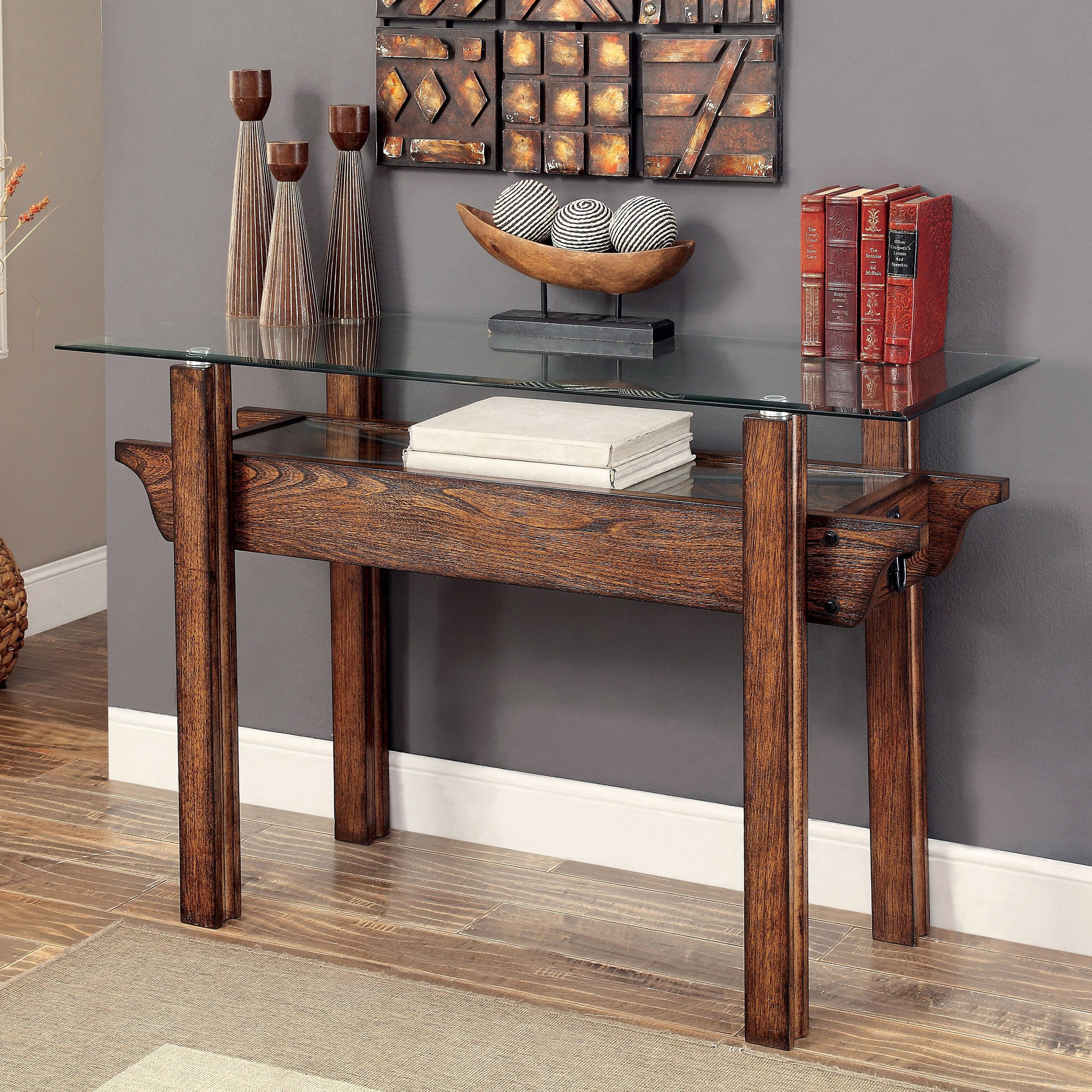 Shop Furniture Of America Charlotte Weathered Oak Glass Top Sofa