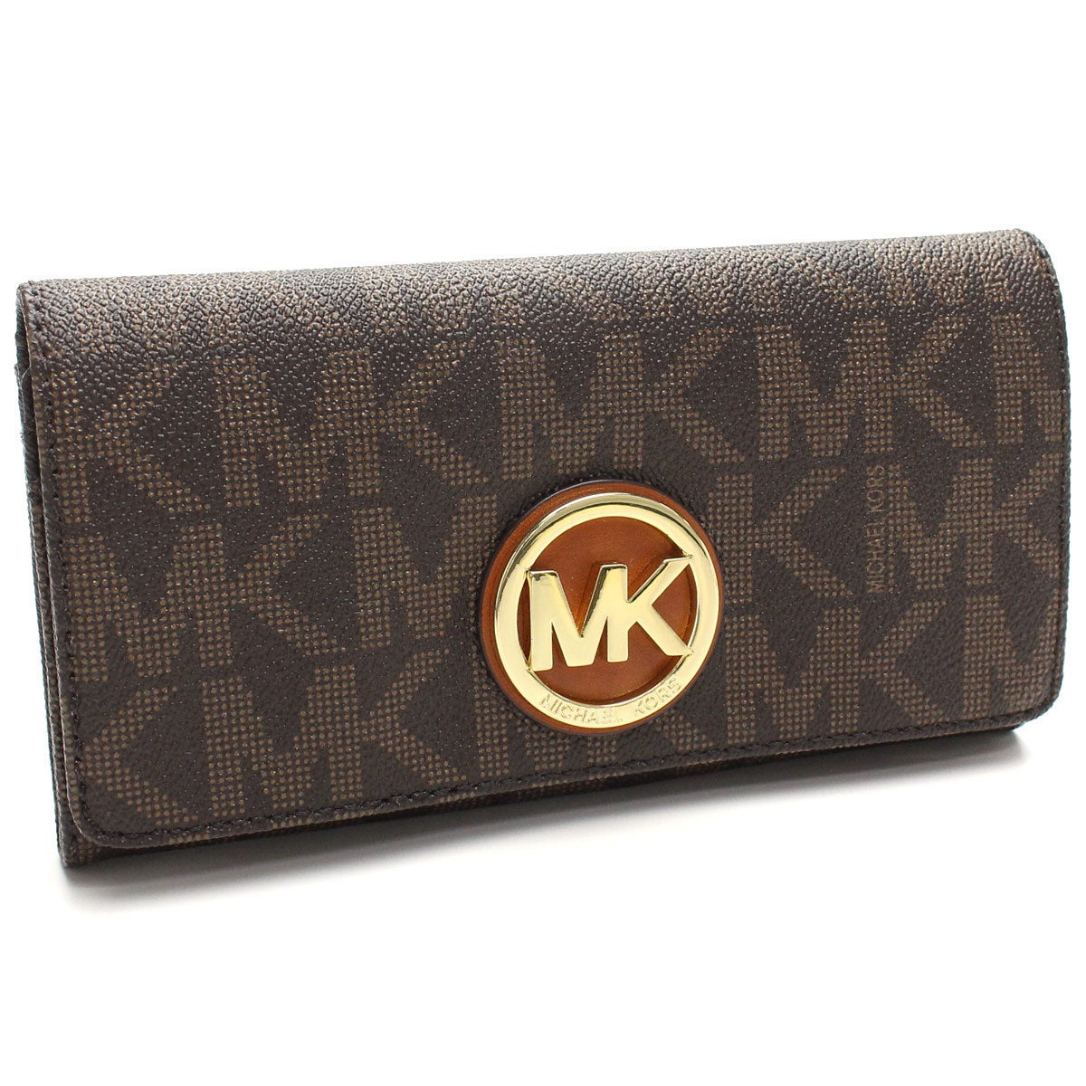 66acf72a0571 Shop Michael Kors Fulton Brown Logo/Gold Carryall Wallet - Free ...
