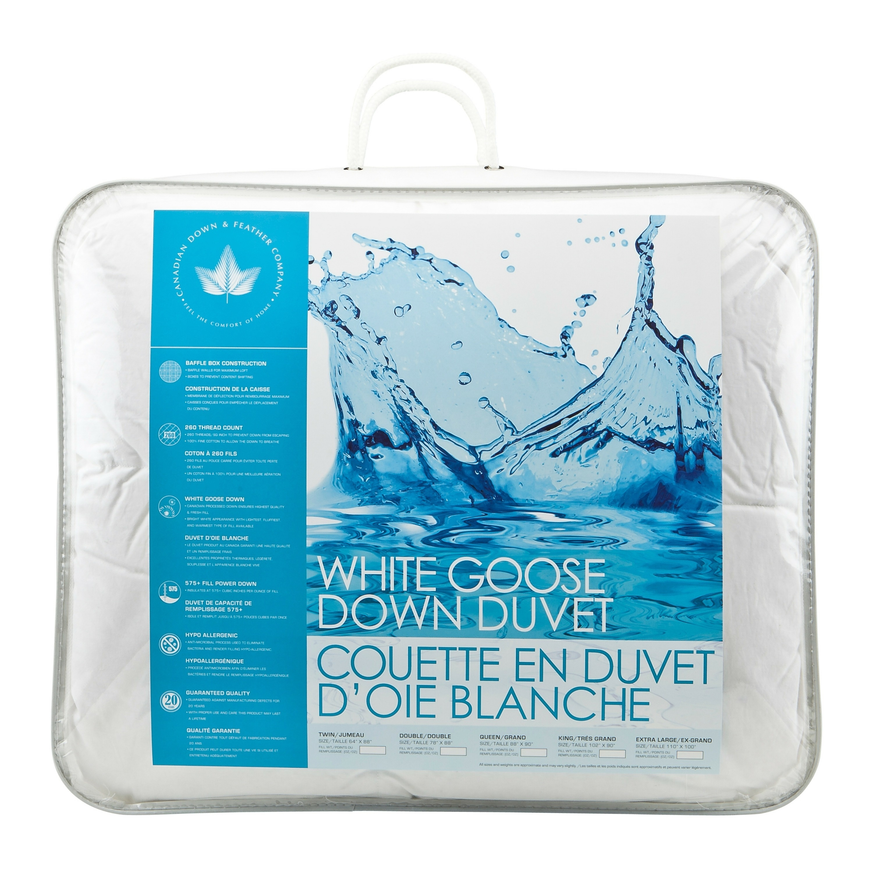 Canadian Down Feather White Goose Down Comforter All Season