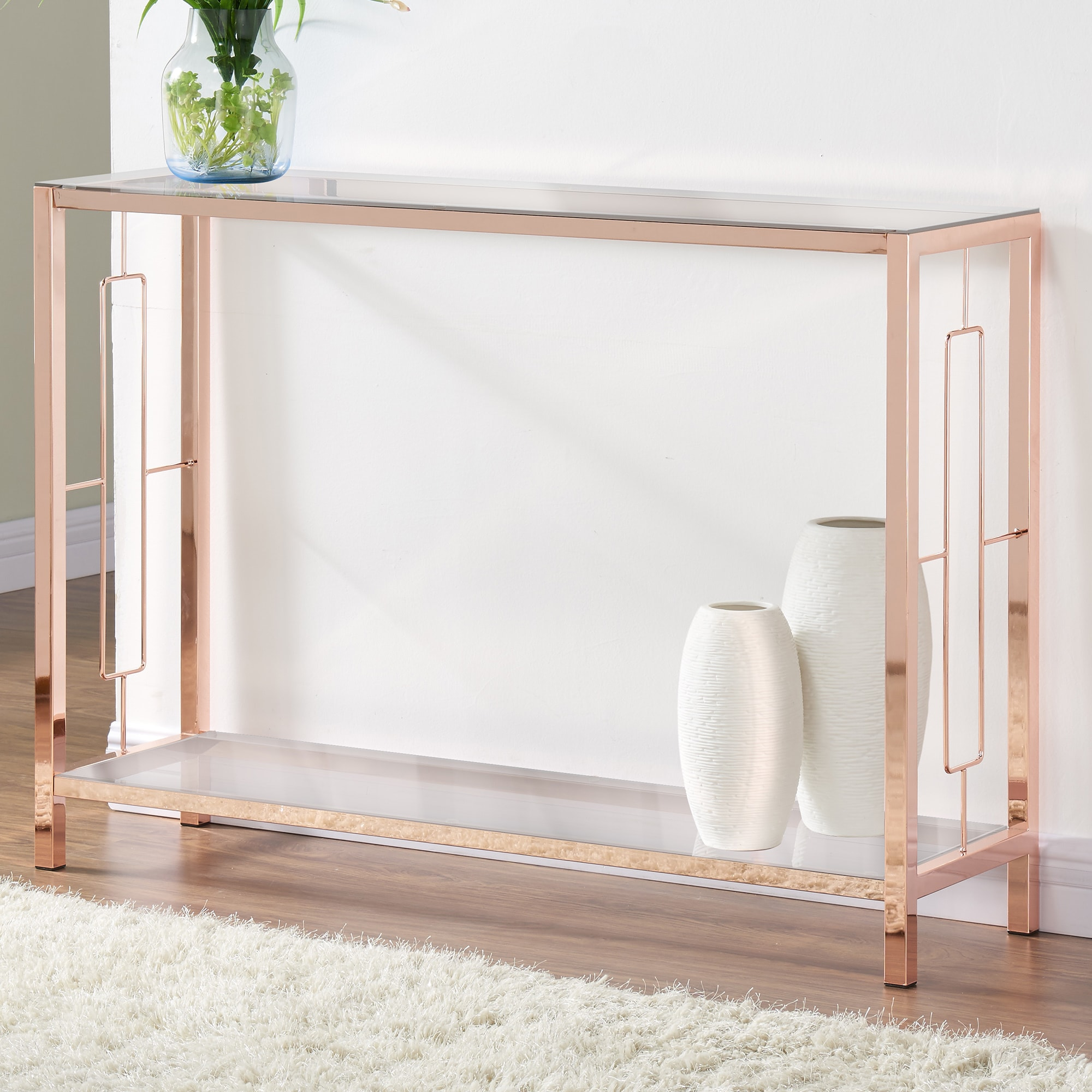 Beau Shop Athena Rose Gold Console Table   Free Shipping Today   Overstock.com    11441639