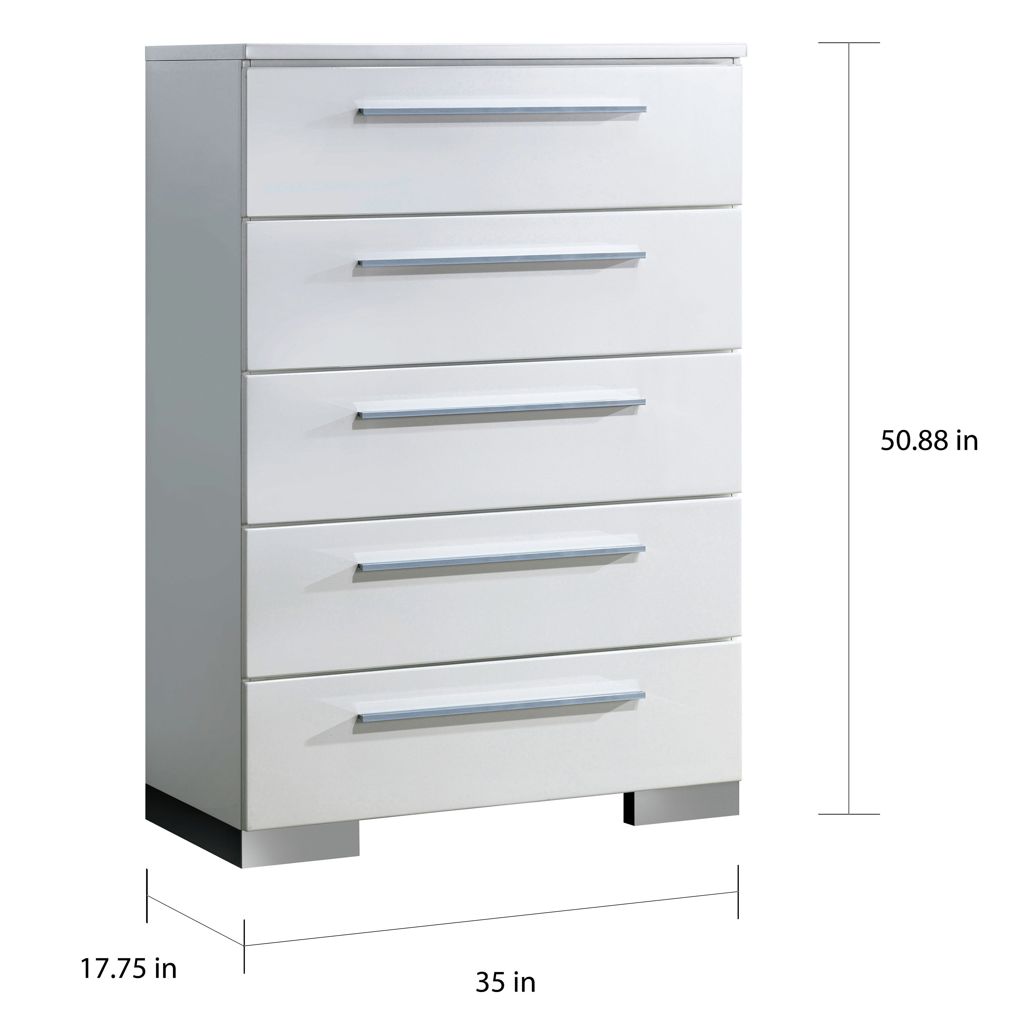Shop furniture of america rema contemporary white 5 drawer chest free shipping today overstock com 11441882
