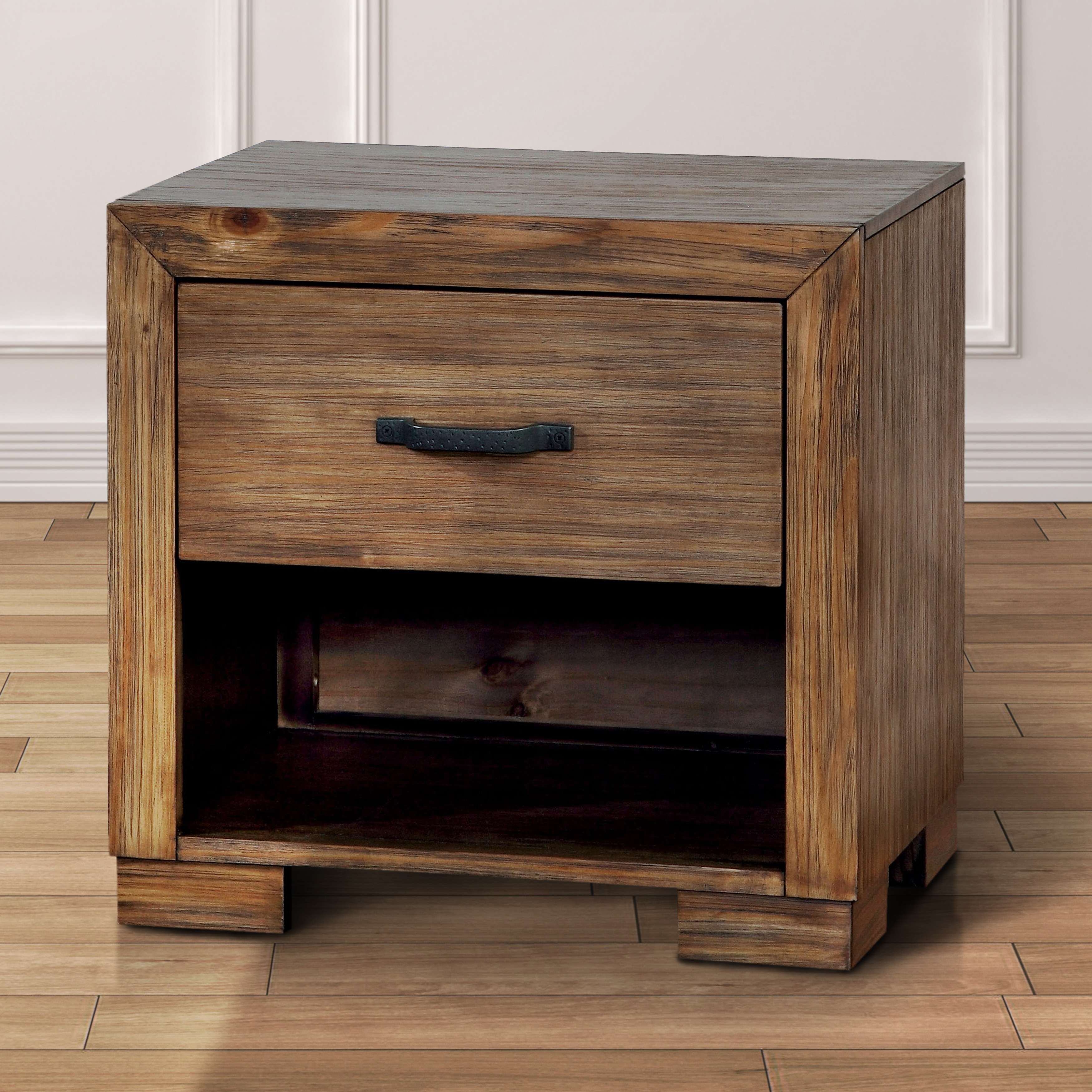 Shop Furniture Of America Marchez Rustic Nightstand With Built In USB Power Outlet