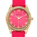 Charles Latour Women's Versal Austrian Crystal Bezel Textured Dial Watch with Pink Silicone Strap