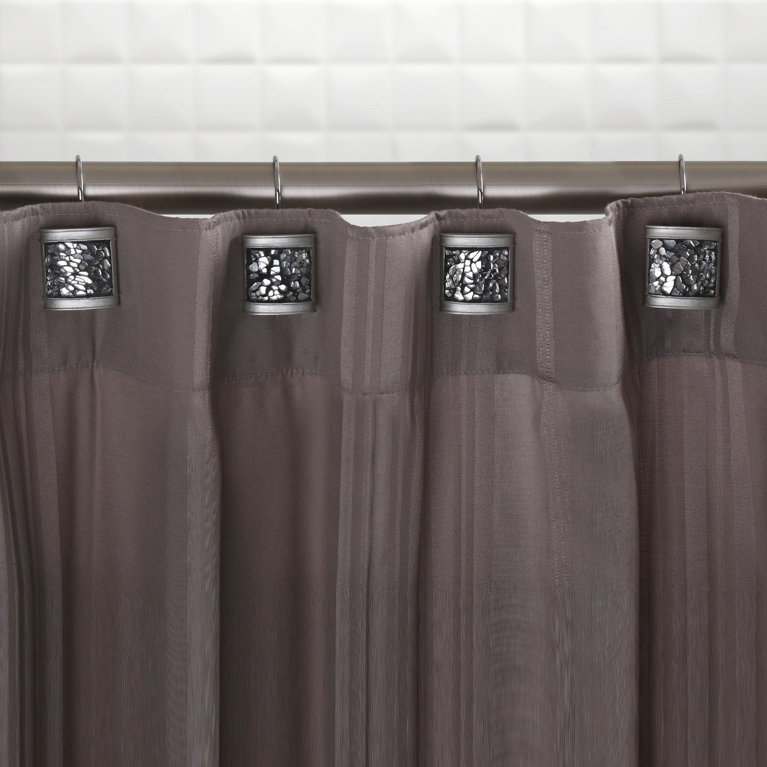 Shop Crackled Glass Shower Curtain Hooks (Set of 12) - Free Shipping ...