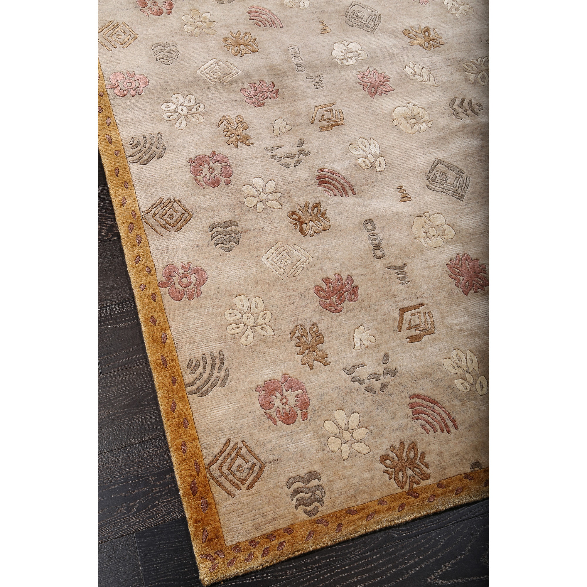 Abc Accent Tibetan Armani Beige Wool And Silk Rug Free Shipping Today Com 11443429