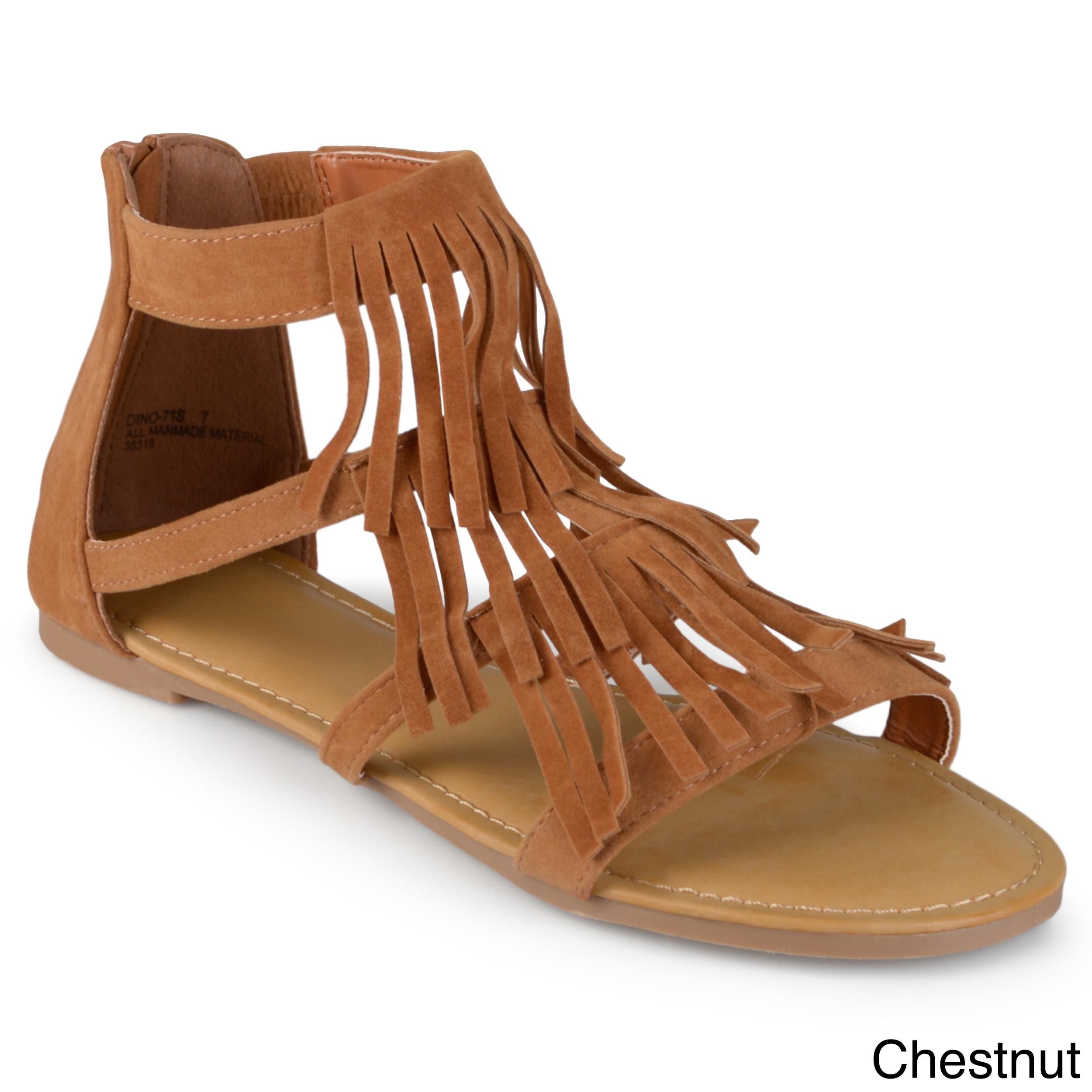 51974b249a4 Shop Journee Collection Women s  Zana  Fringed Flat Gladiator ...