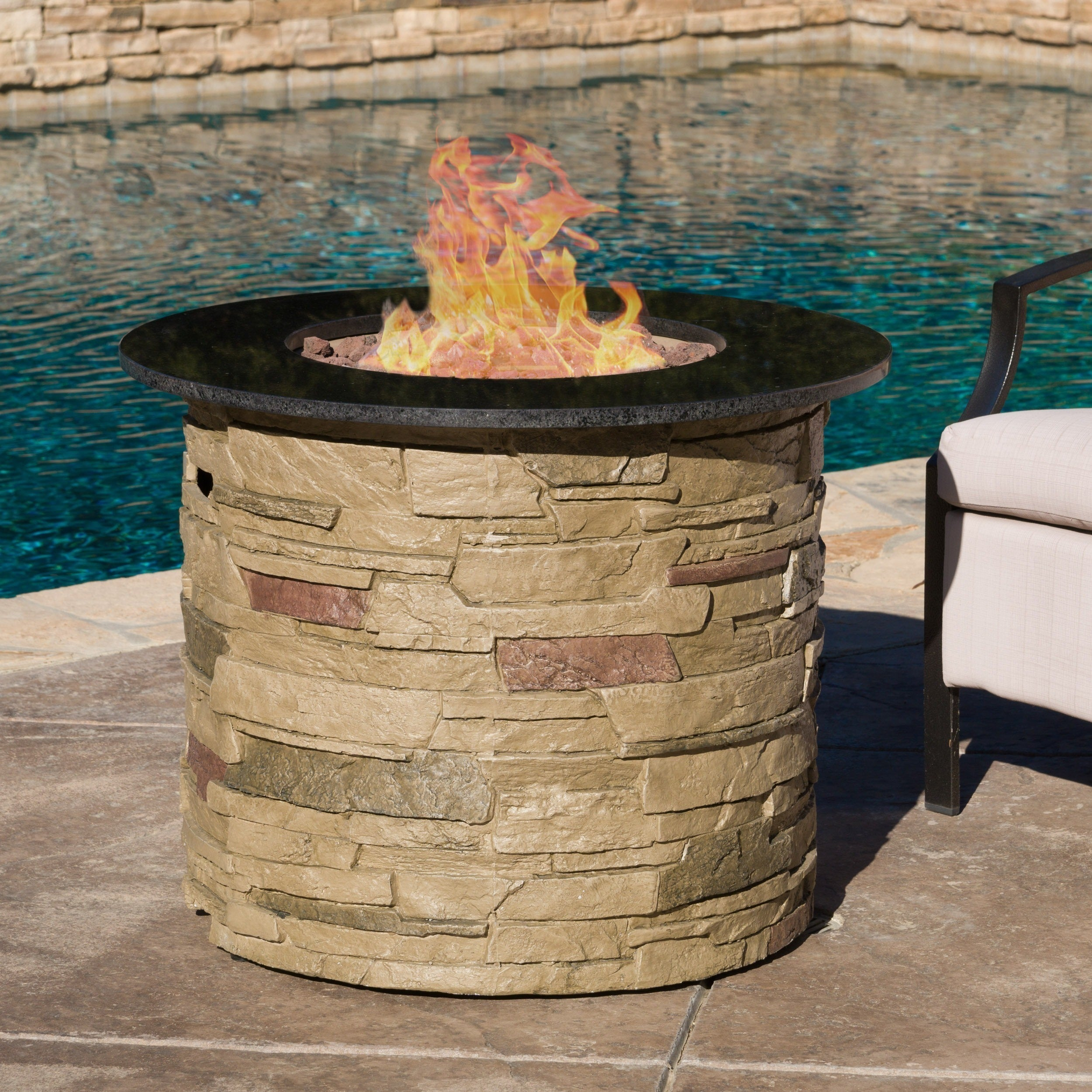 Zuniga Outdoor Round Propane Fire Pit With Lava Rocks By Christopher Knight Home Free Shipping Today 11445480