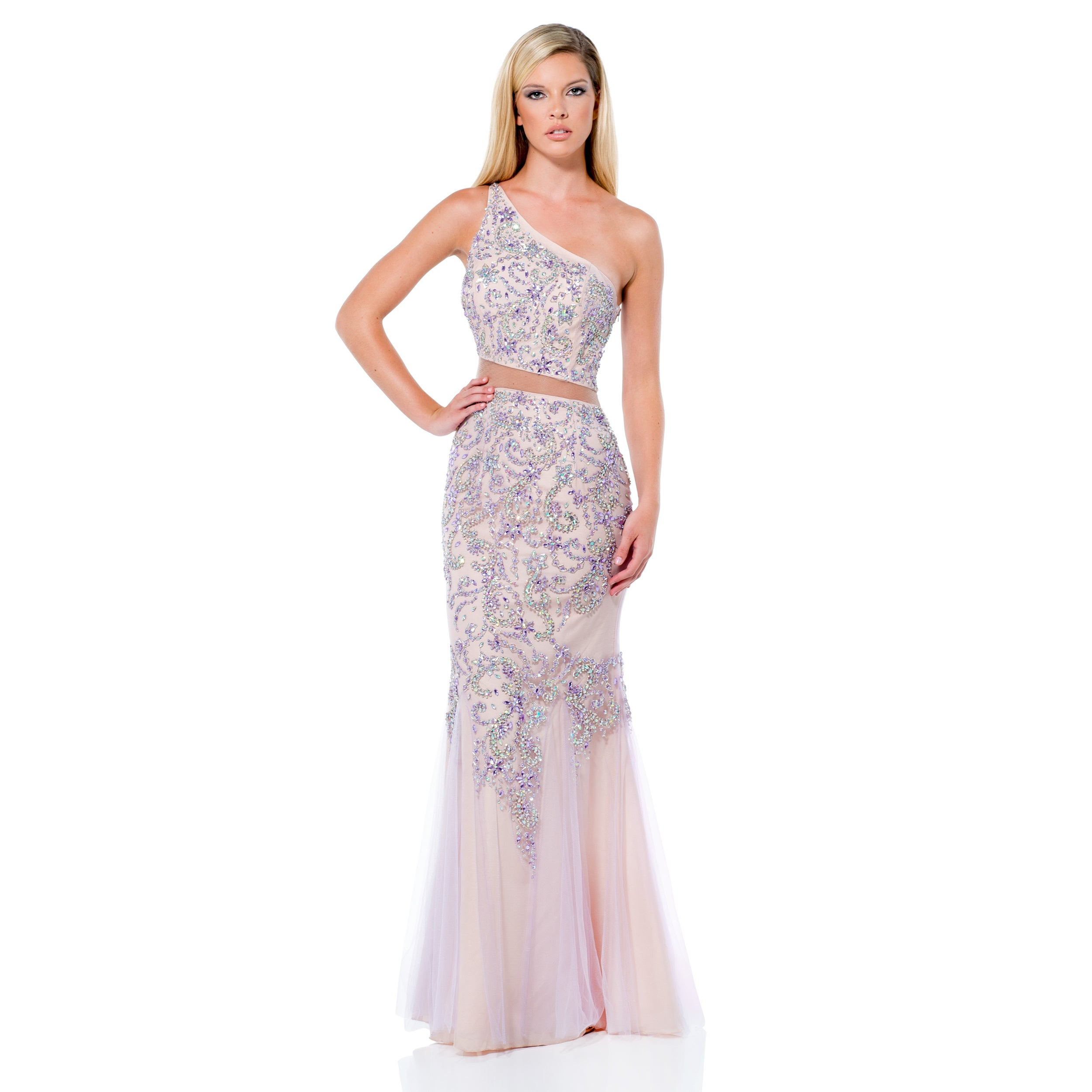 ddff5367a637 Shop Terani Couture Pink Two Piece Long Prom Gown with Asymmetrical Neck -  Free Shipping Today - Overstock - 11446469