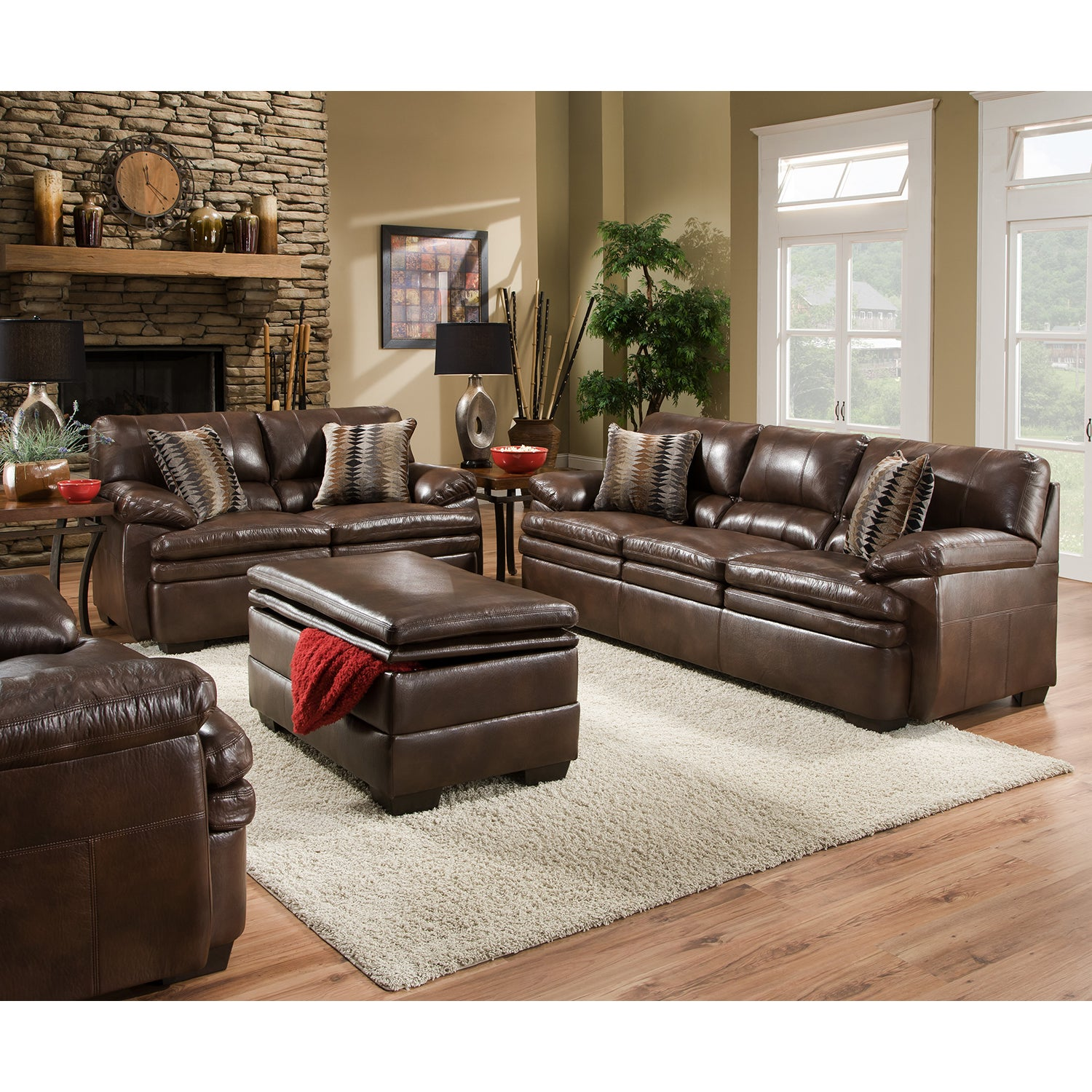 Shop Simmons Upholstery Editor Brown Bonded Leather Sofa   Free Shipping  Today   Overstock.com   11447144