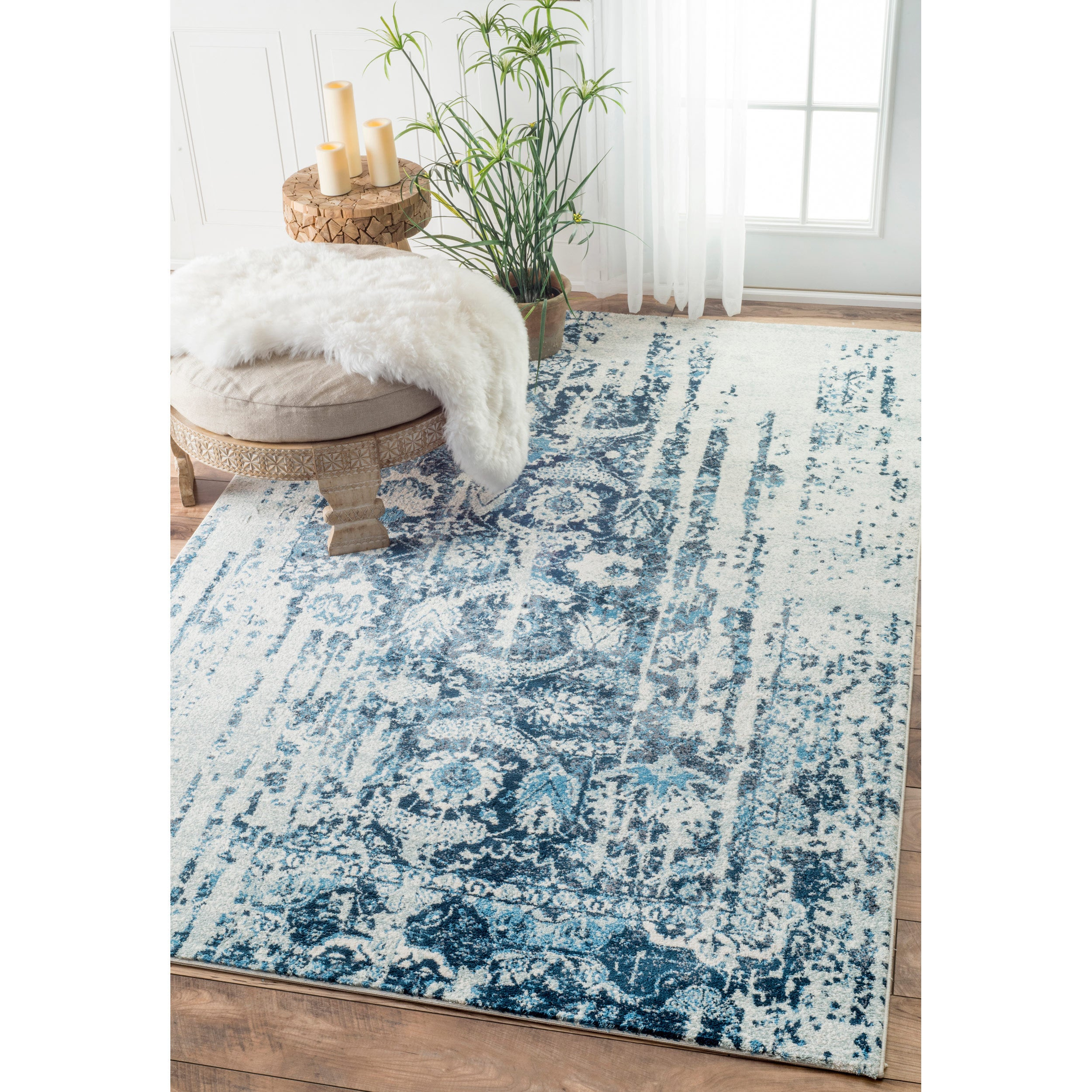 Shop nuLOOM Distressed Vintage Faded Persian Blue Rug - 8\'6 x 11\'6 ...