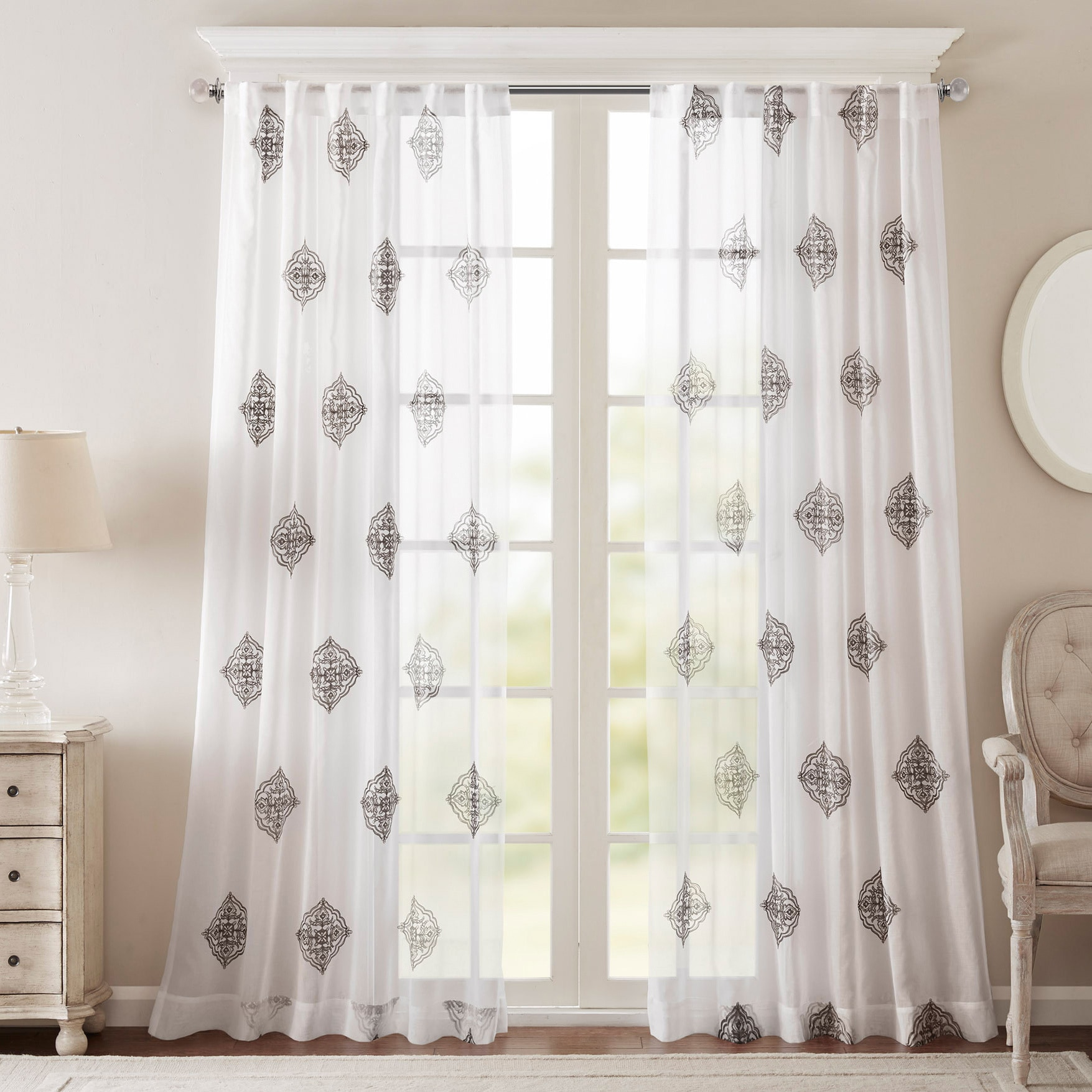 Bombay Massa Embroidered Sheer Window Curtain Panel - Free Shipping On  Orders Over $45 - Overstock.com - 18410748