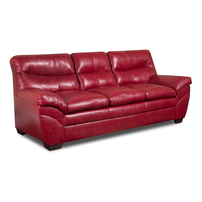 Shop Simmons Upholstery Soho Cardinal Bonded Leather Sofa - Free ...
