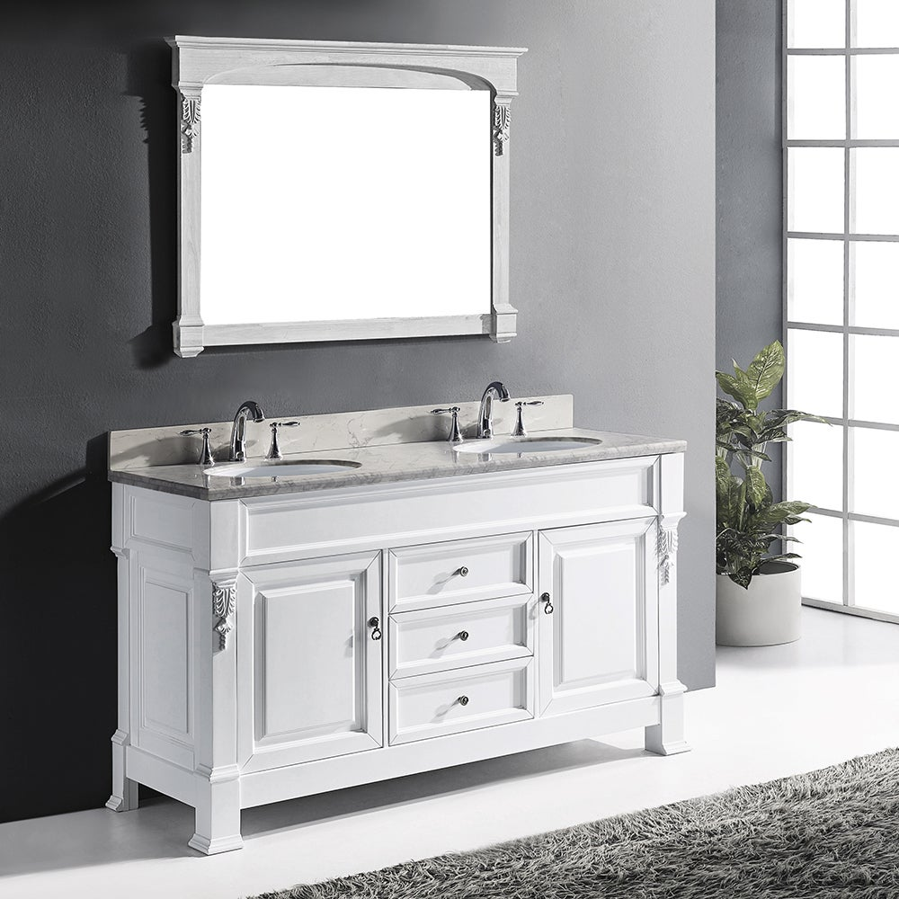 Virtu Usa Huntshire 60 Inch White Double Bathroom Vanity Cabinet Set