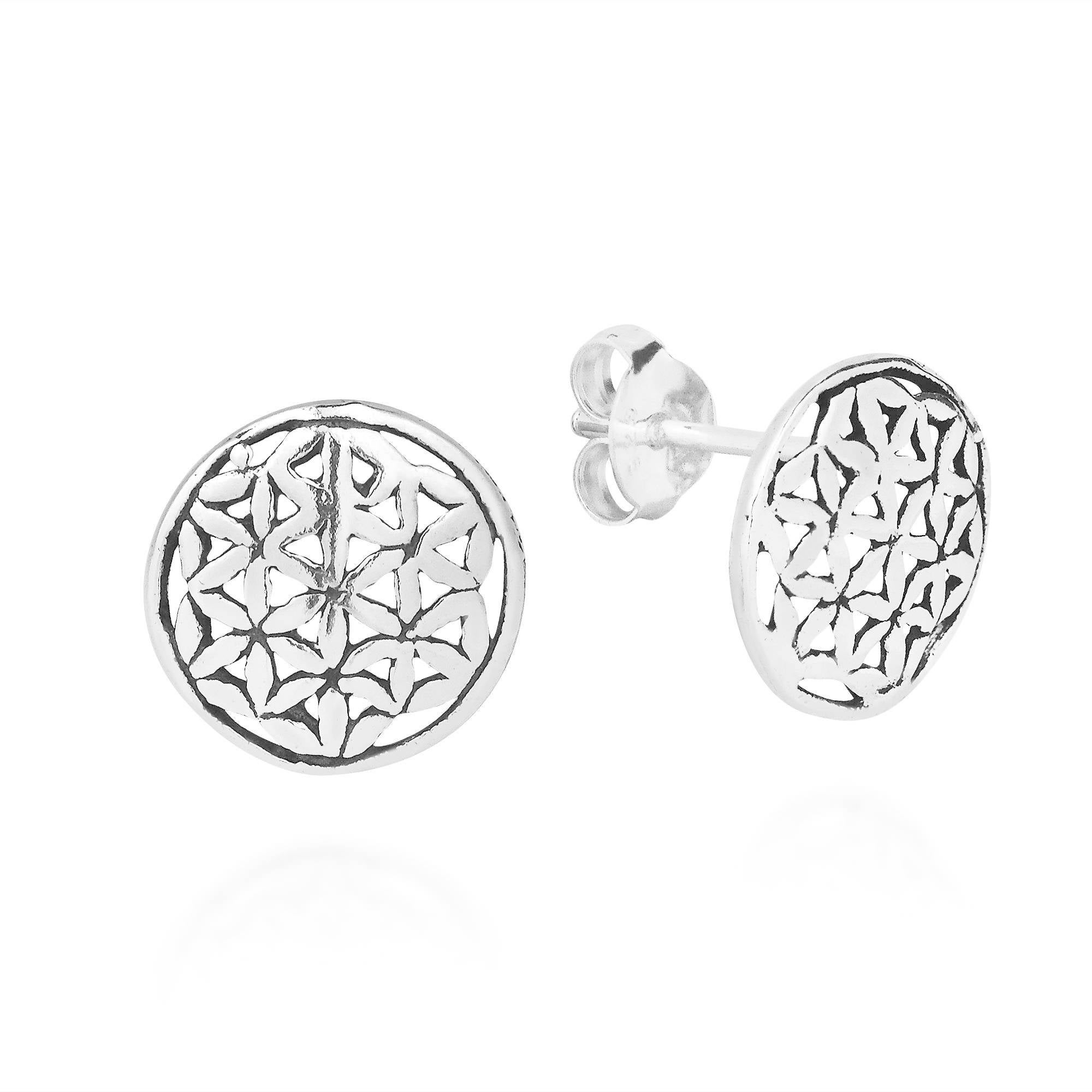 Handmade Interconnecting Lily Flower Of Life 925 Silver Stud Earrings Thailand On Free Shipping Orders Over 45