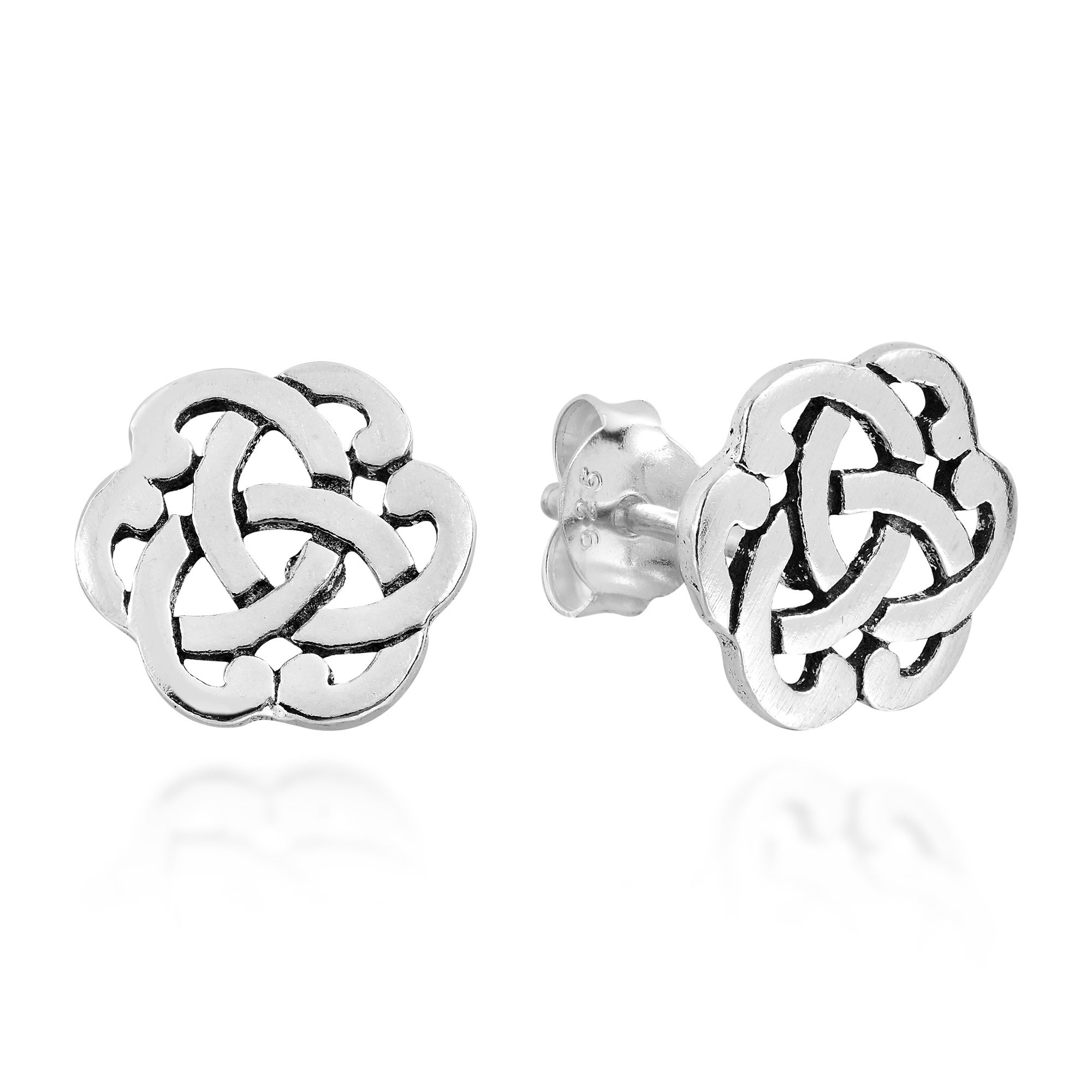 stainless celtic knot sterling petite silver dangle earrings steel in