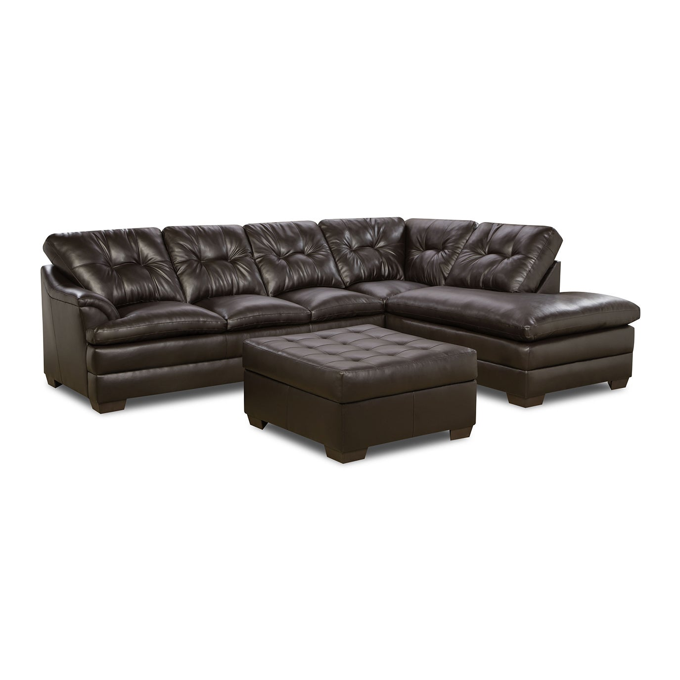 Simmons Upholstery Apollo Espresso Sectional and Ottoman - Free ...
