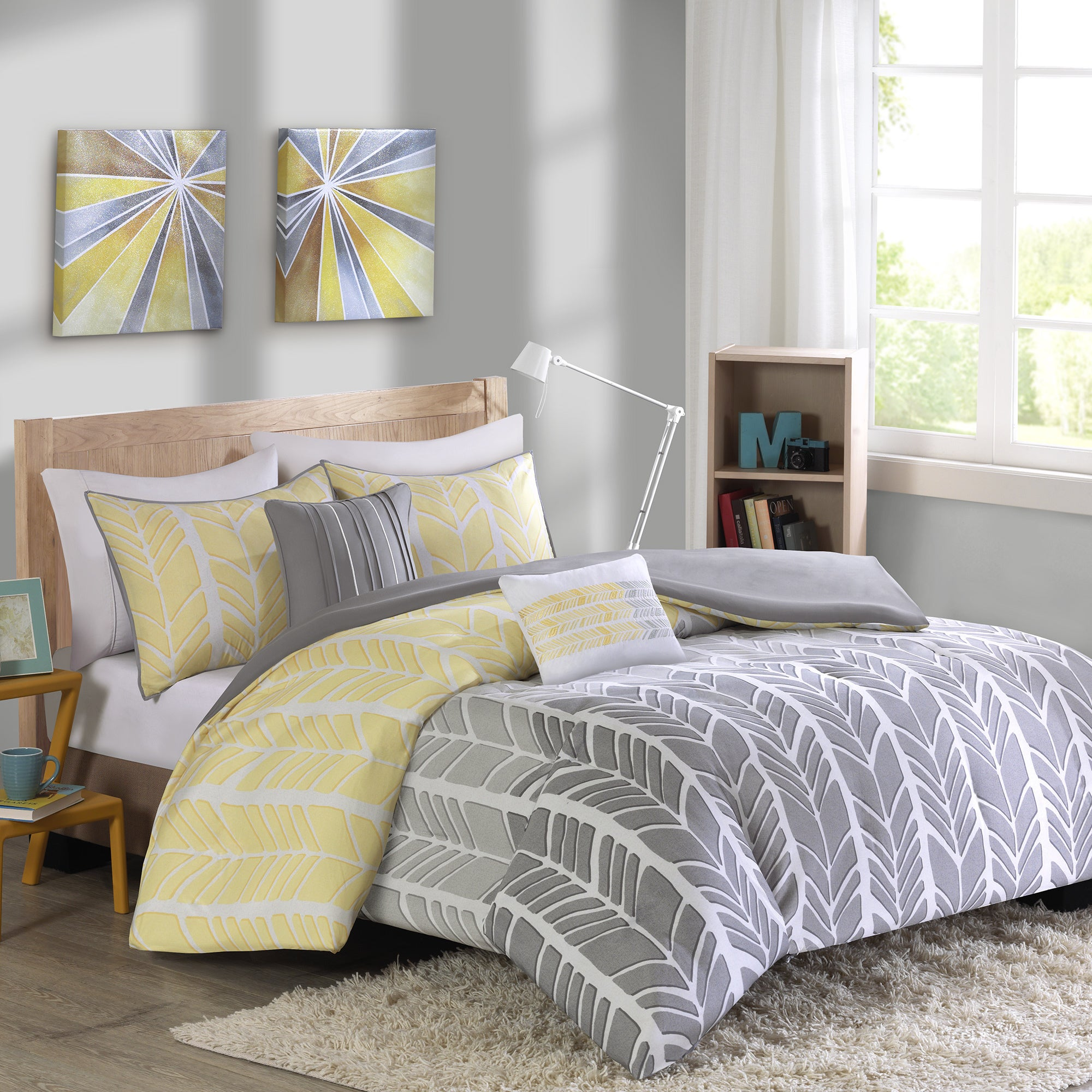 furniture navy bedroom comforter dresser decor yellow ideas gray decorating and