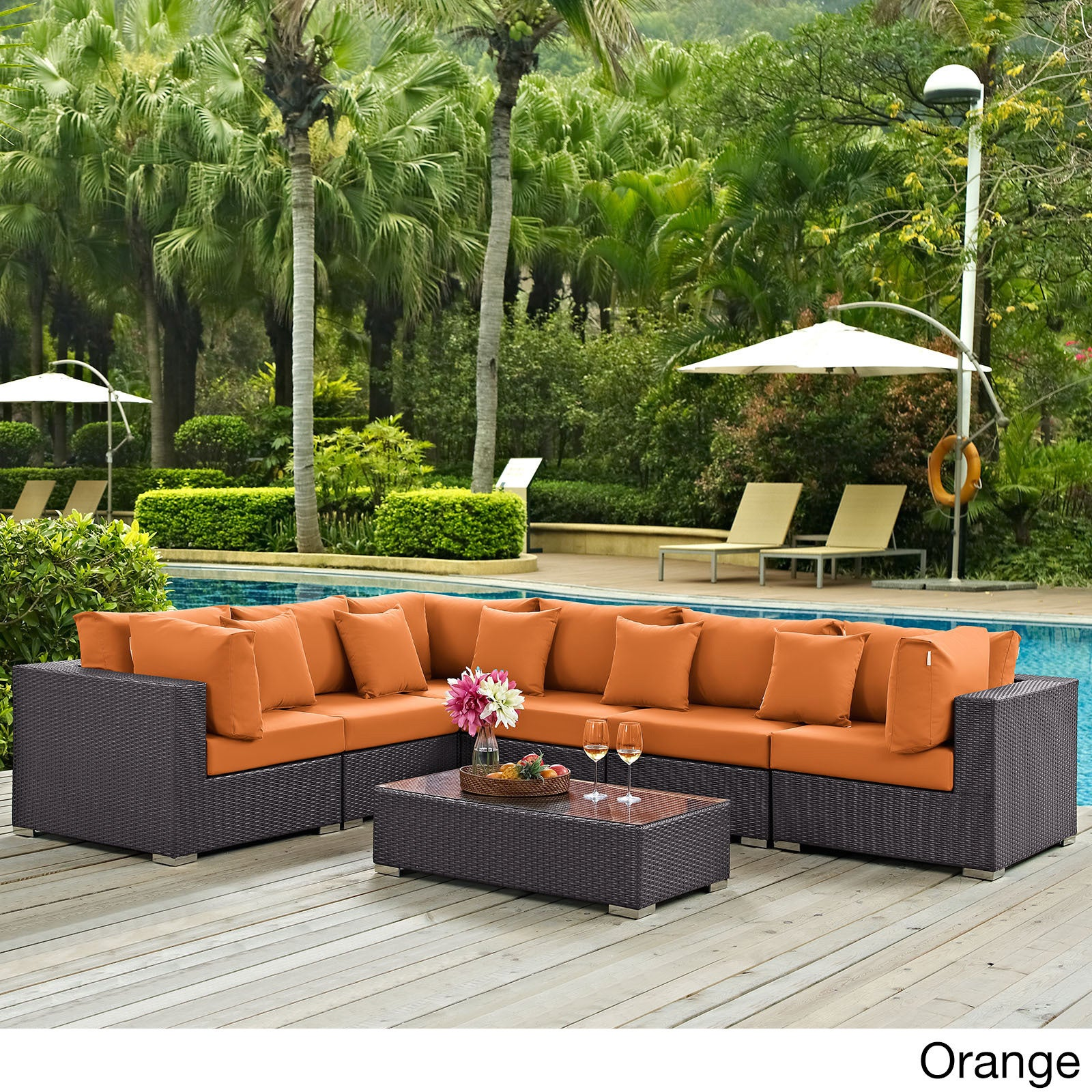 sandhill sectional sale piece seats shoptv sofa set patio outdoor detail