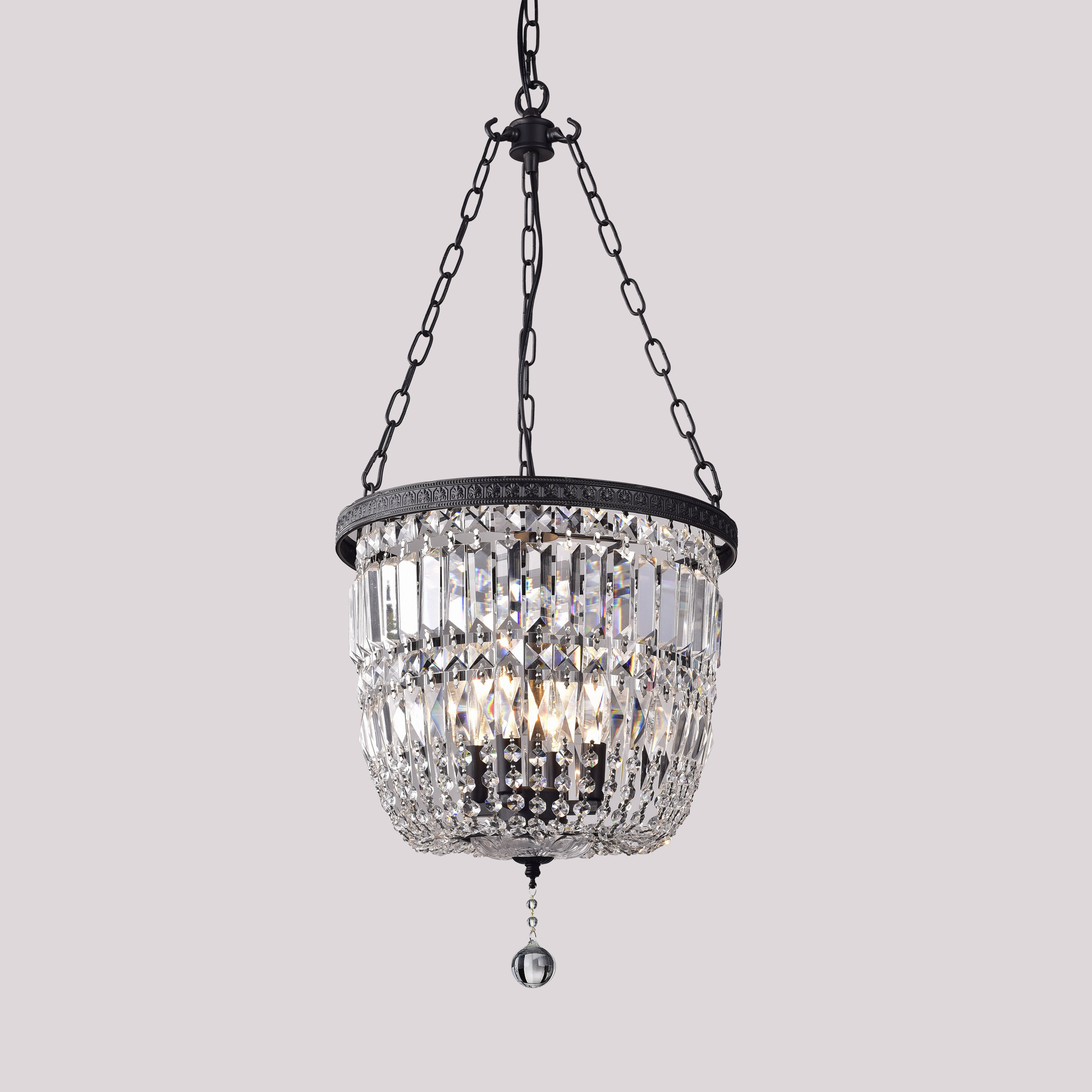 Shakira Antique Black Bowl Shaped Crystal Chandelier Free