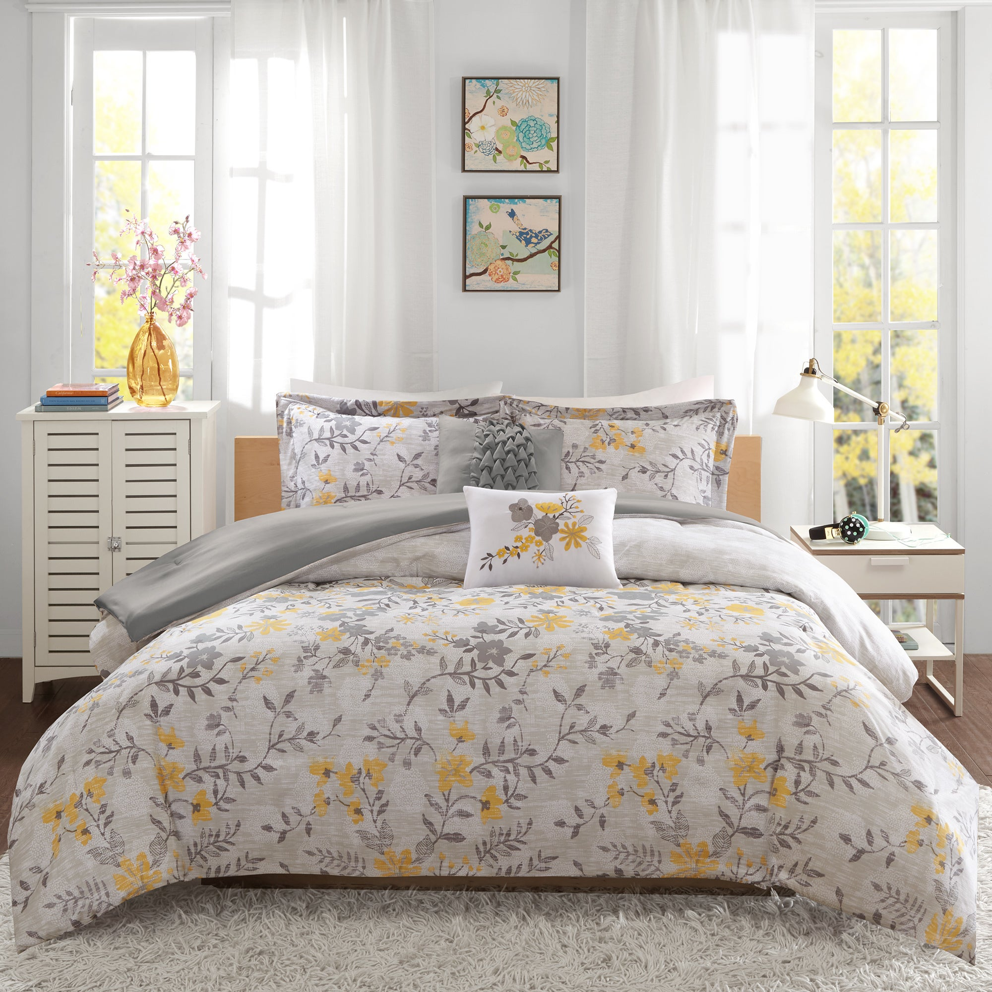 home overstock piece shipping gray bedding floral chic free embroidered comforter bag yellow bed a and nits grey bath product today in