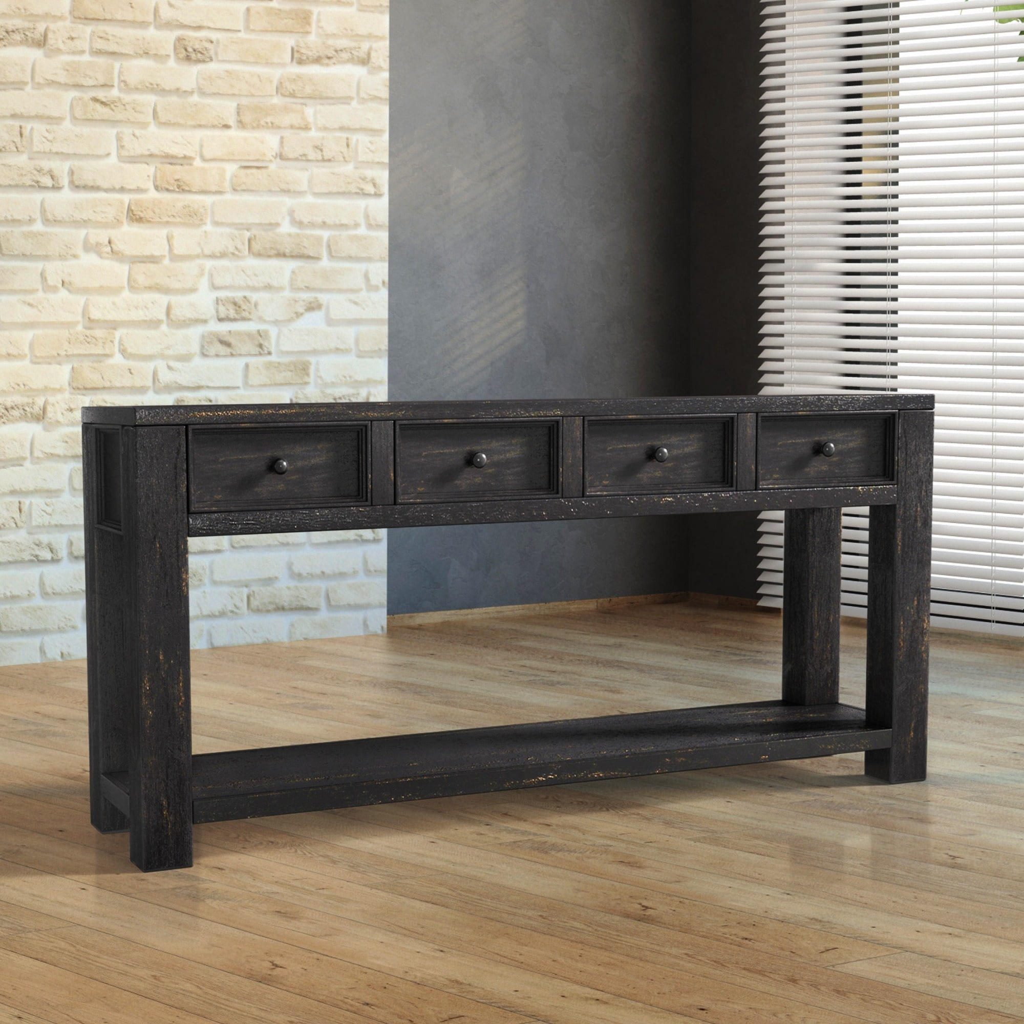Superbe Shop Furniture Of America Cosbin Bold Antique Black 4 Drawer Sofa Table    Free Shipping Today   Overstock.com   11459895