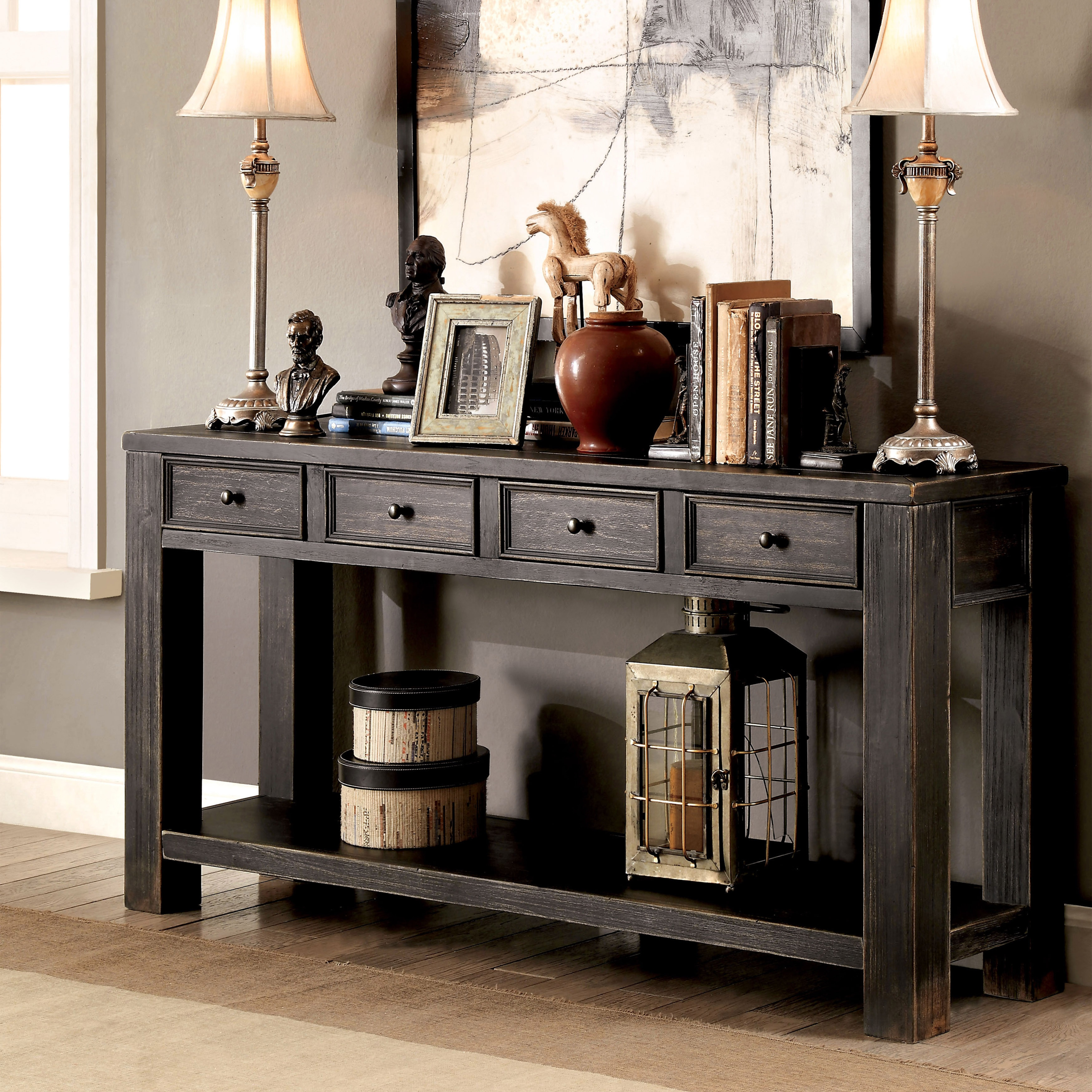 Furniture Of America Cosbin Bold Antique Black 4 Drawer Sofa Table On Sale Overstock 11459895