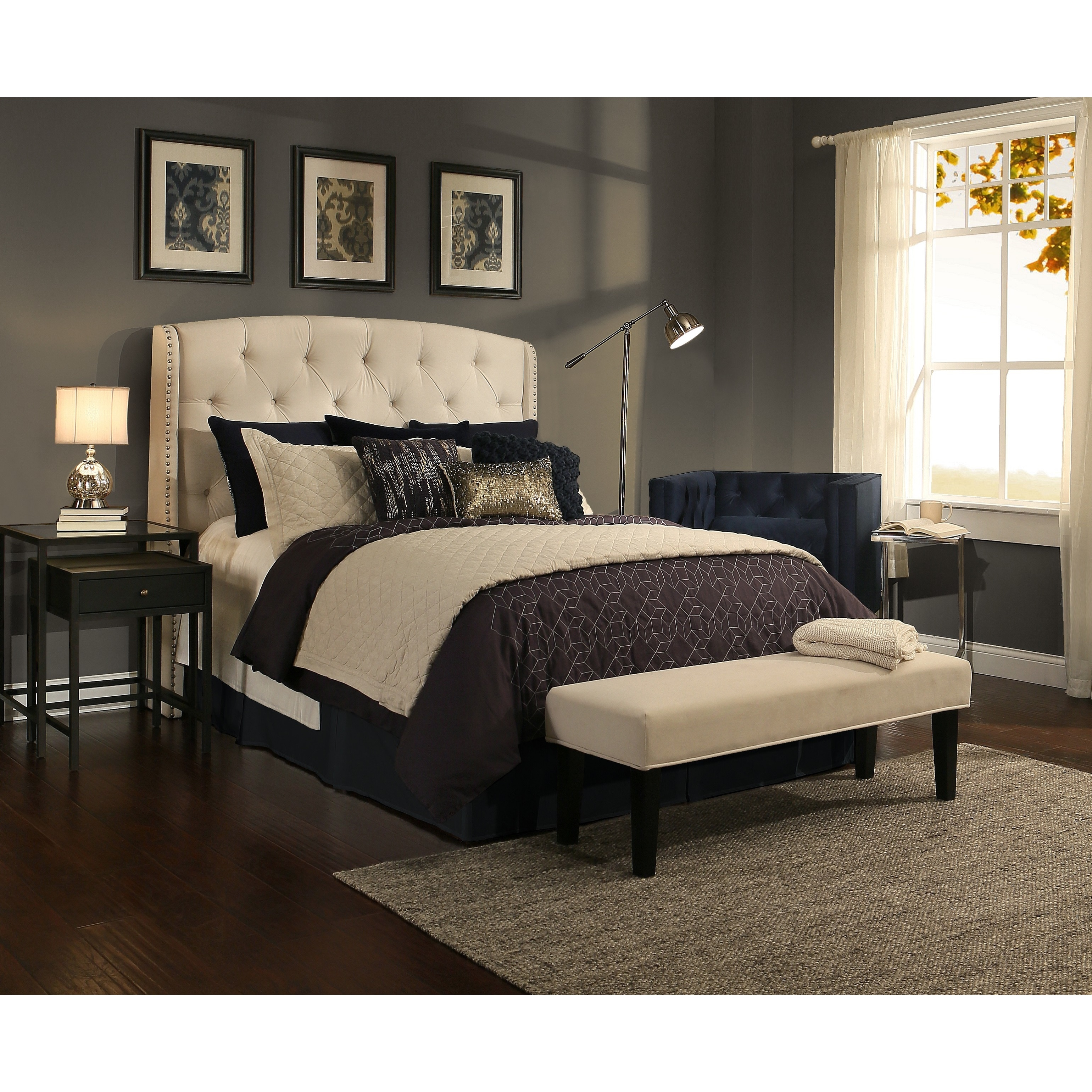 Republic Design House Peyton Ivory Tufted Upholstered Wingback Headboard/  Padded Bench Collection - Free Shipping Today - Overstock.com - 18417626