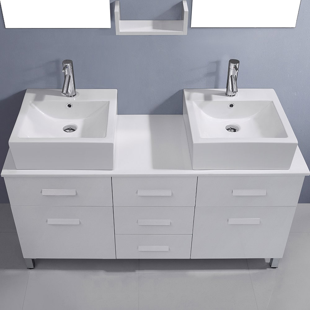Shop Virtu USA Maybell 56-inch Double Bathroom Vanity Cabinet Set in ...