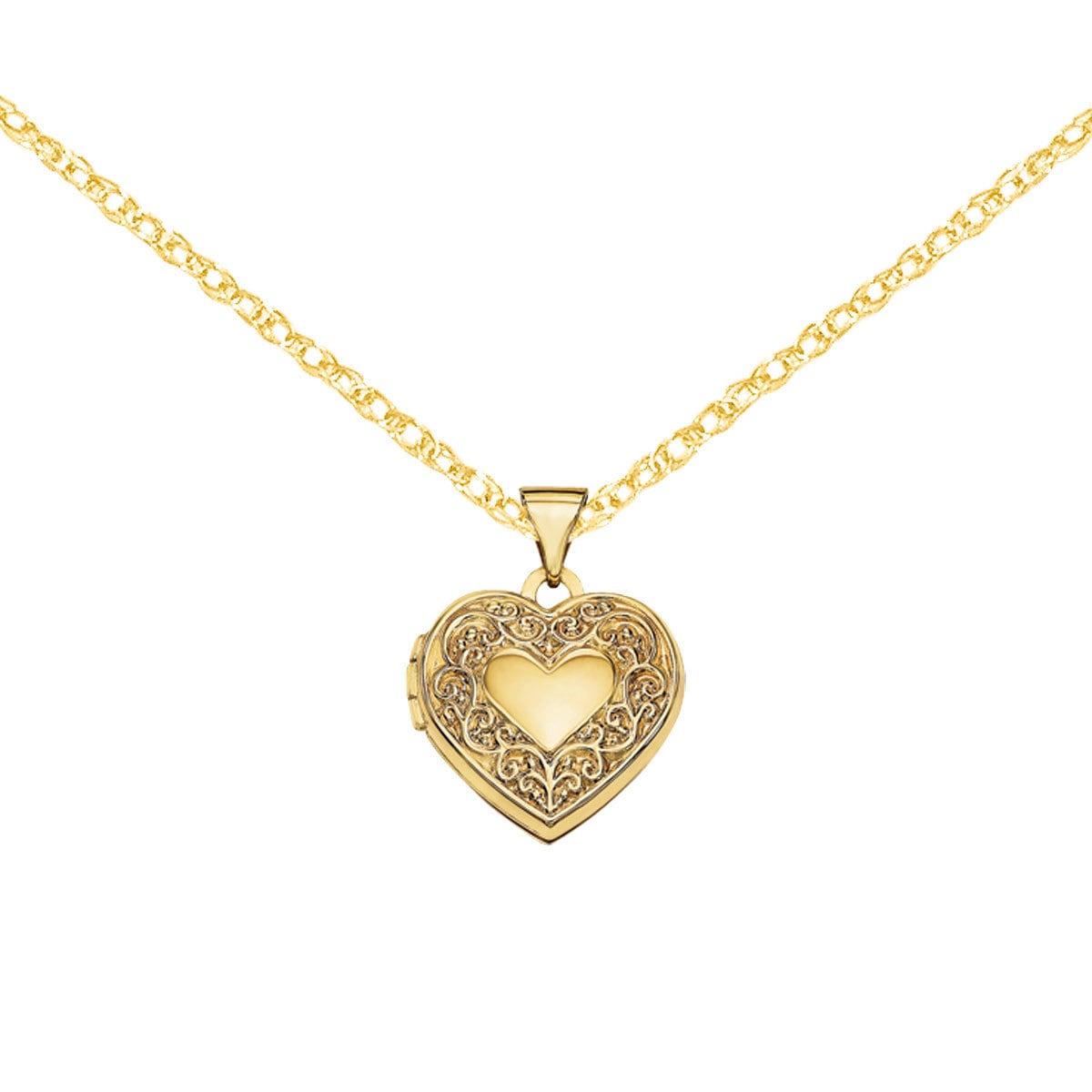 6c81919fa2 Shop Versil 14 Karat Yellow Gold Scroll Heart Locket with 18-inch ...