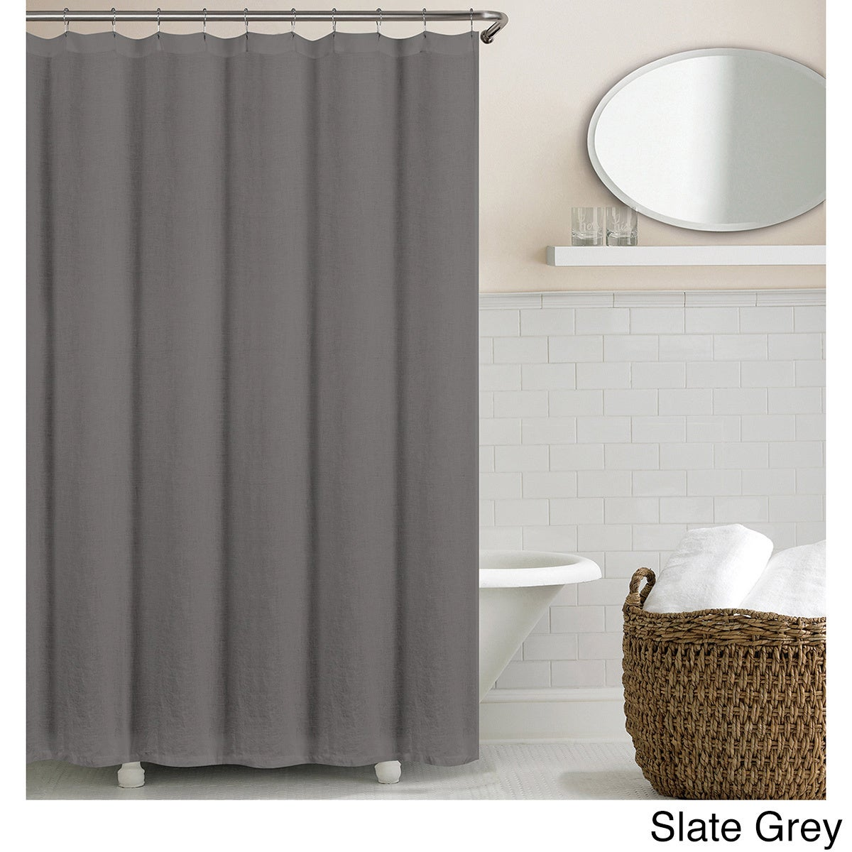 Shop Echelon Home Washed Belgian Linen Shower Curtain