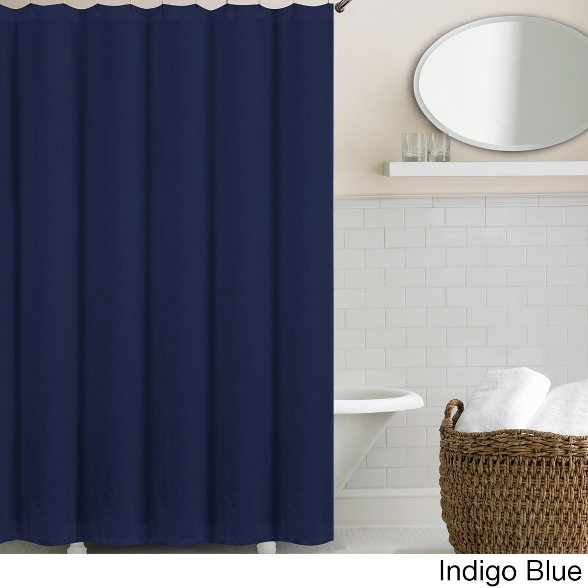 Shop Echelon Home Washed Belgian Linen Shower Curtain - On Sale ...