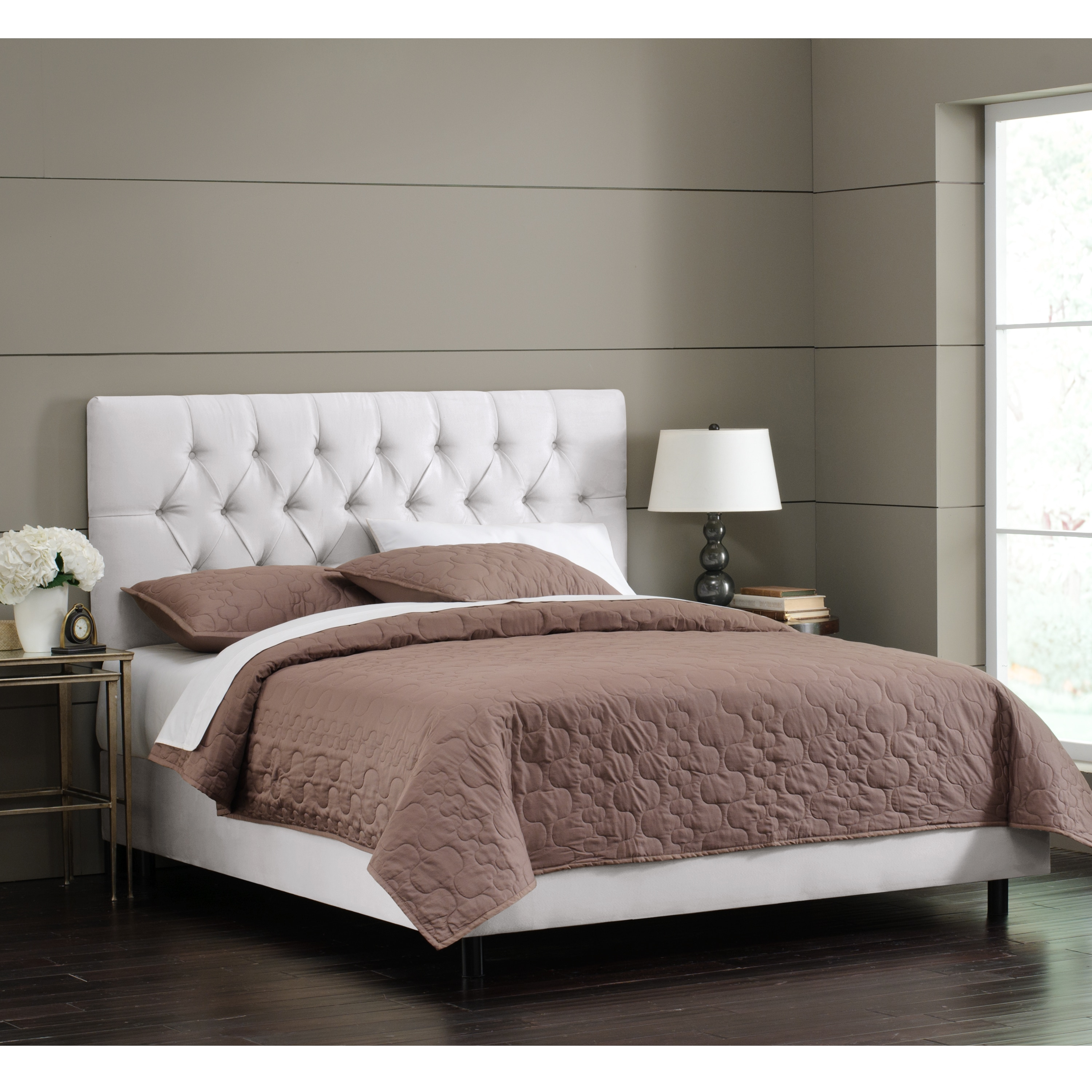 Shop Skyline Furniture White Velvet Tufted Bed Free Shipping Today