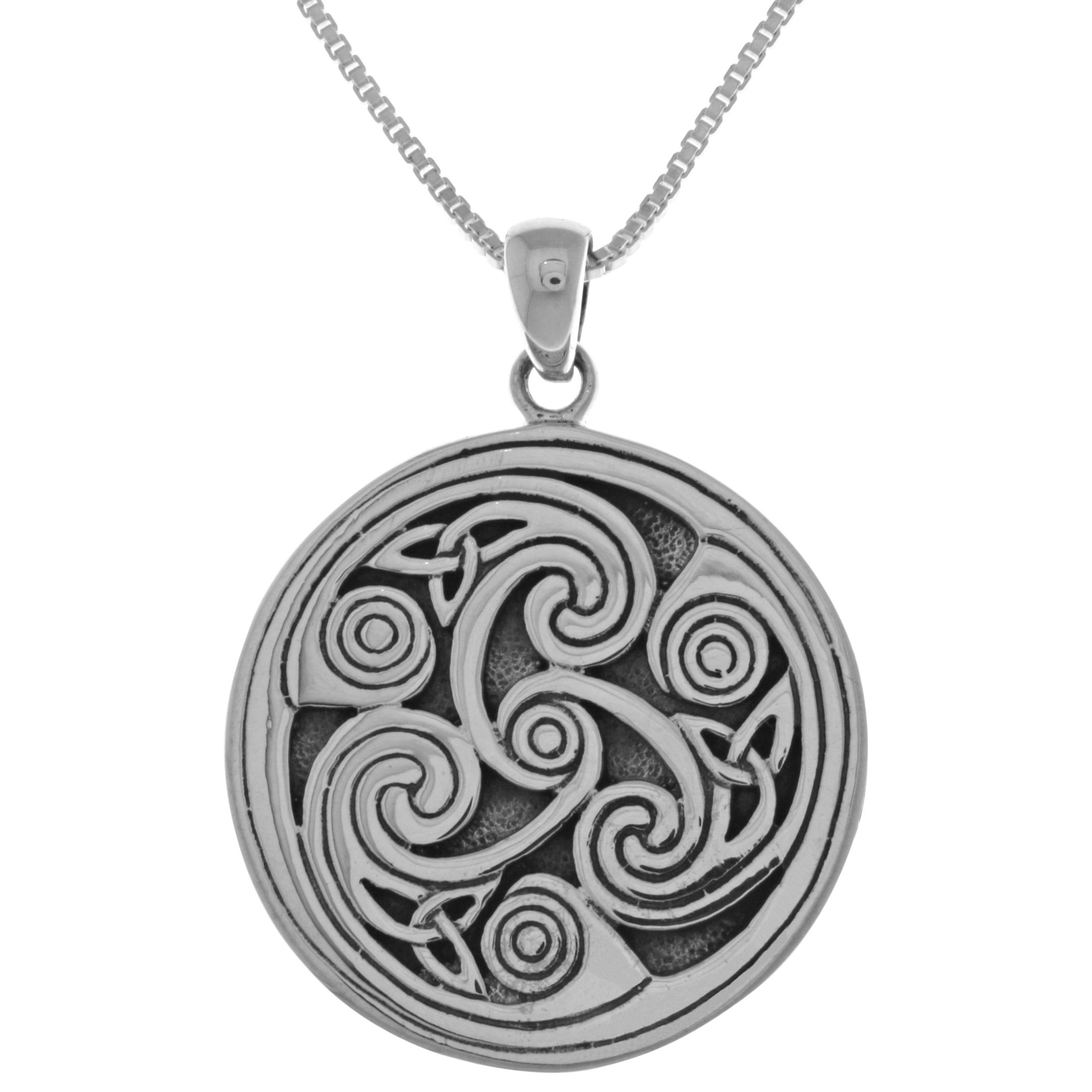 pin celtic ceramic or triskelion wicca pendant necklece triskele