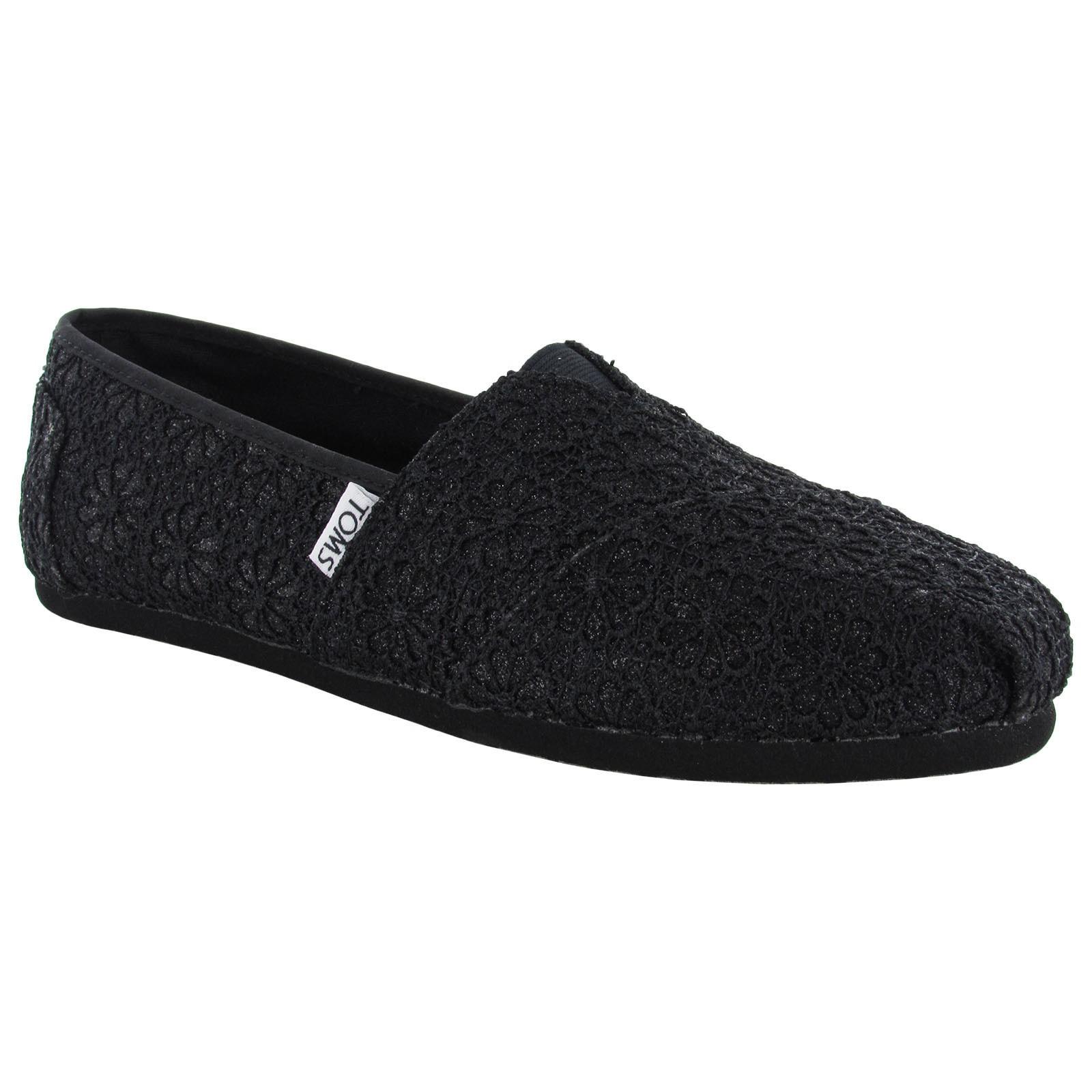 Shop Toms Womens Crochet Glitter Slip On Alpargata Flat Shoes