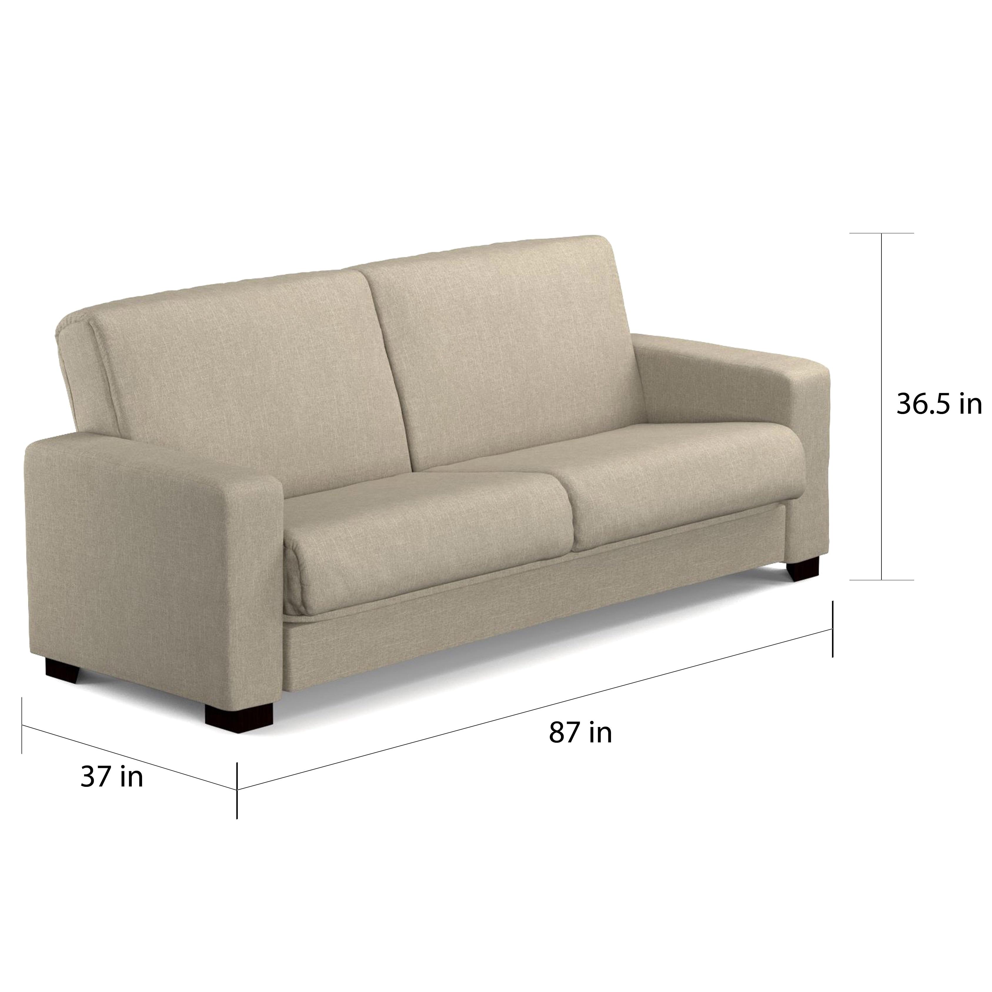 Shop Handy Living Tempo Convert A Couch Barley Tan Linen Futon Sleeper Sofa    Free Shipping Today   Overstock.com   11469622