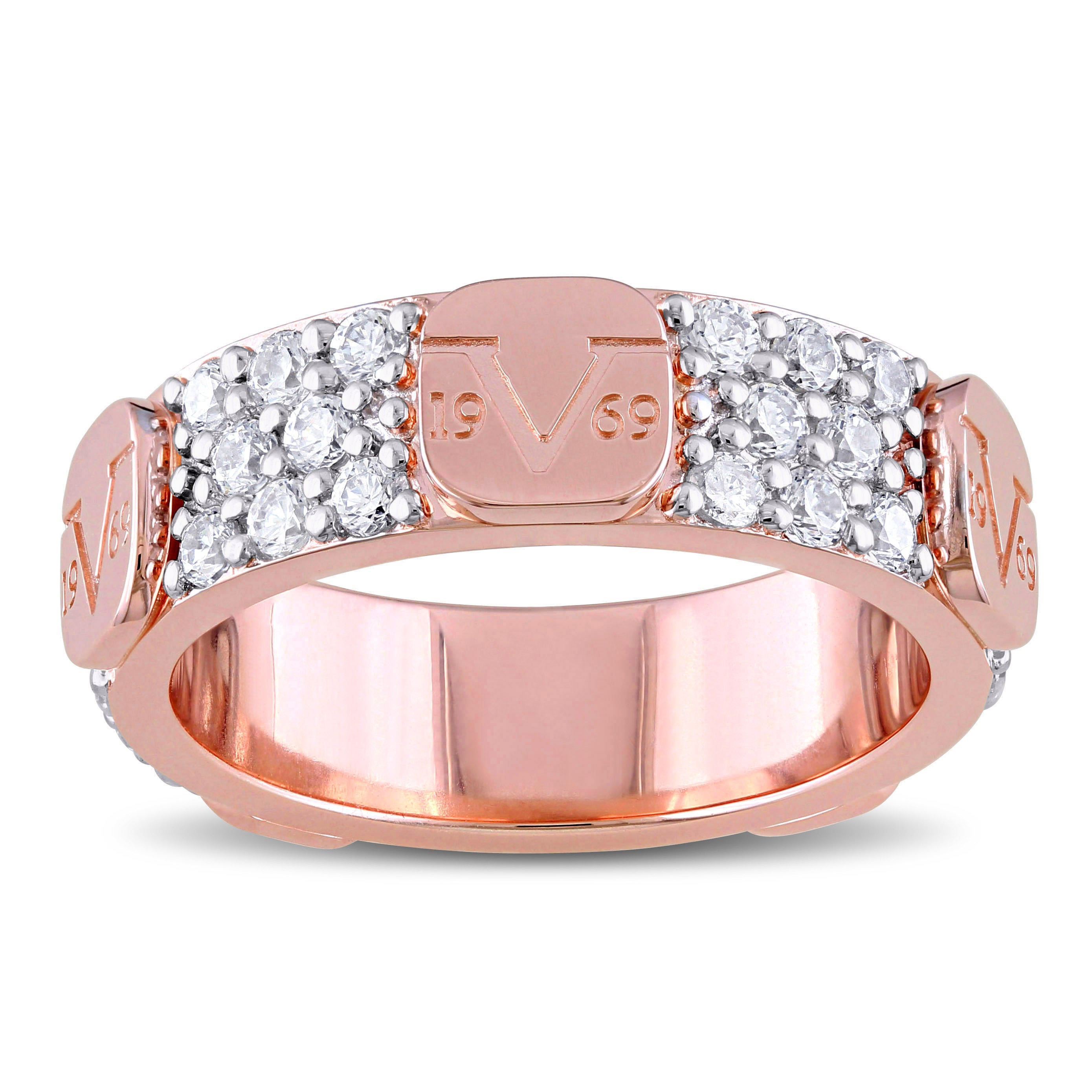 Shop V1969 Italia Cubic Zirconia Eternity Ring In Rose Gold Plated ...