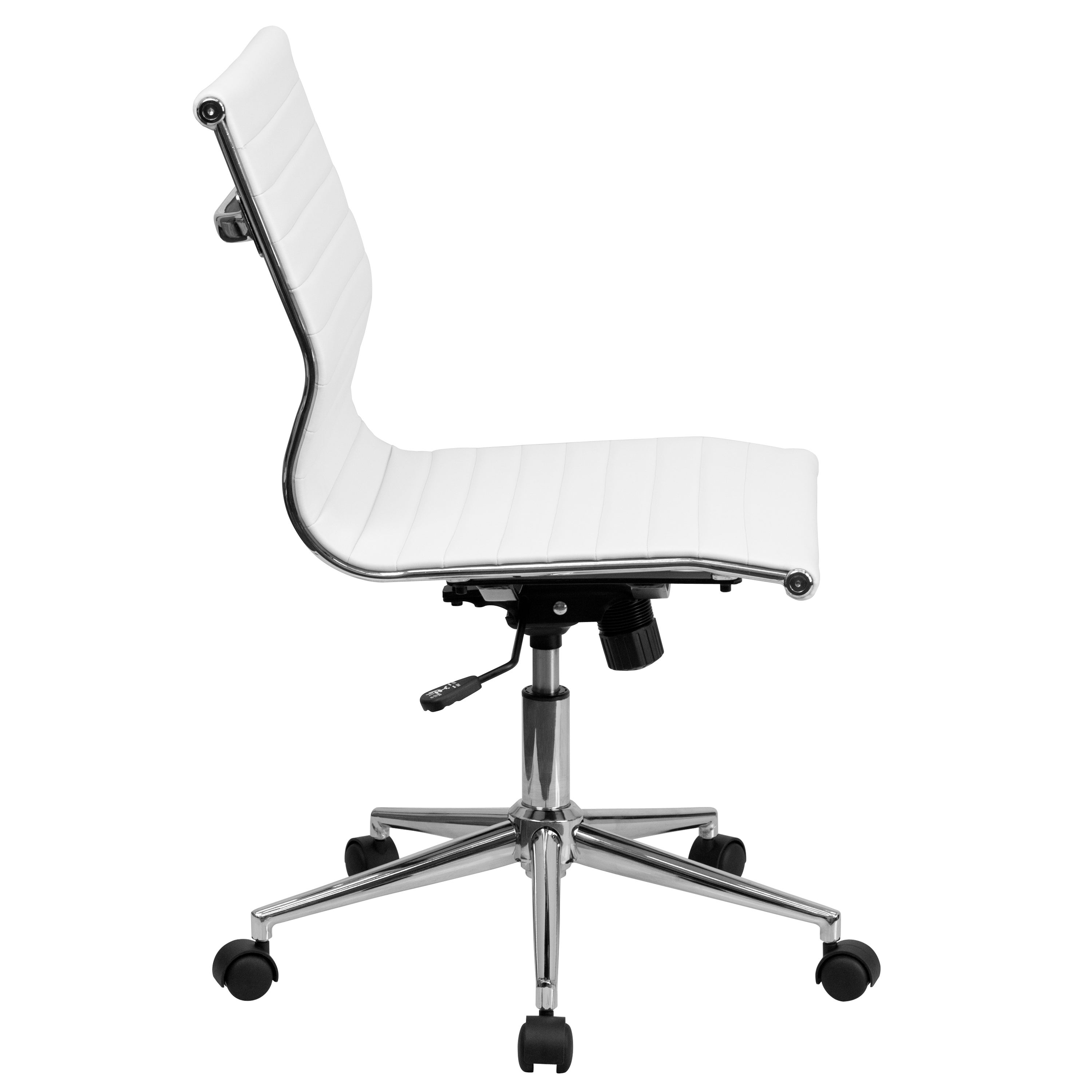 Sleek Armless White Ribbed Leather Swivel Adjule Office Chair Free Shipping Today 11482718