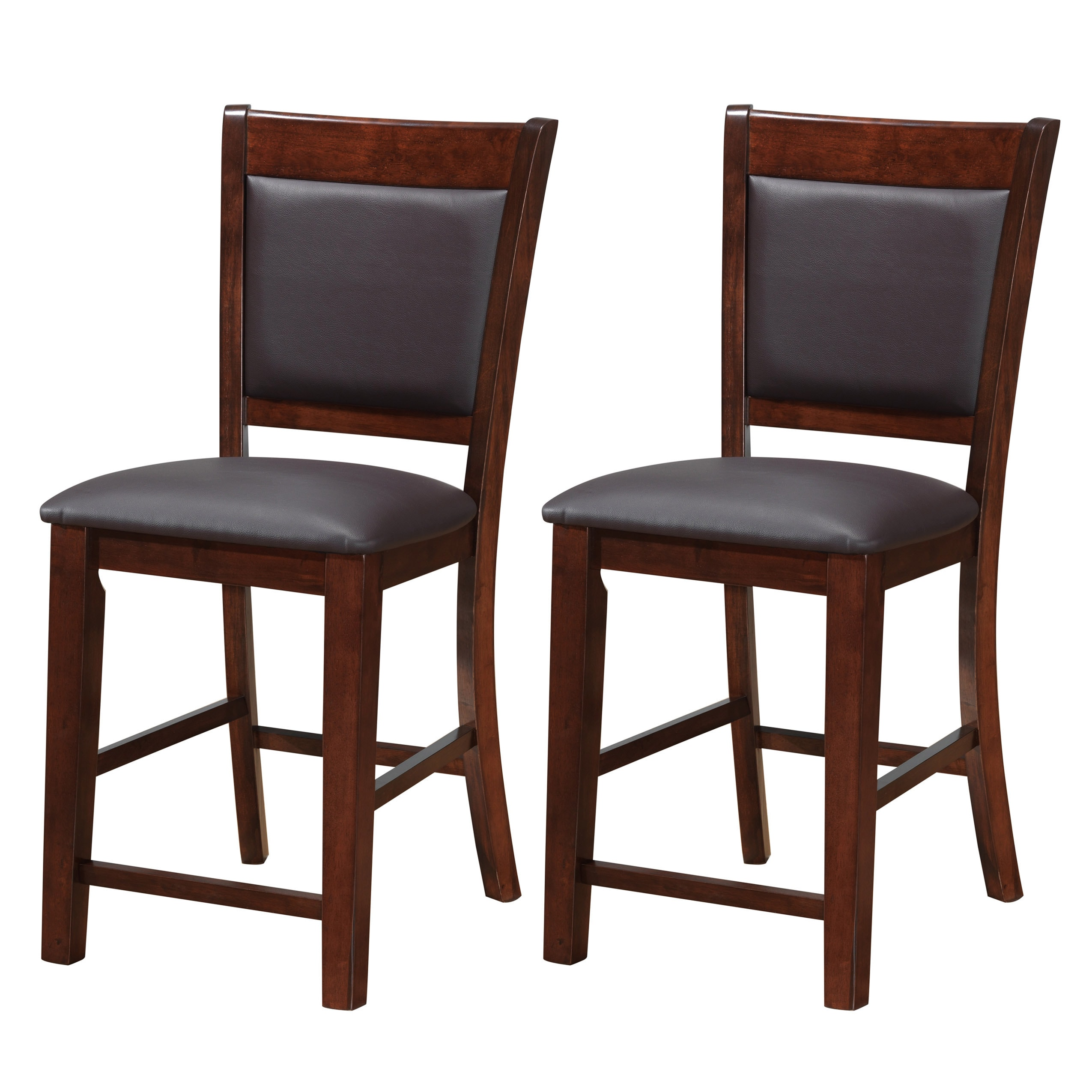 Corliving chocolate brown bonded leather counter height stools set of 2 free shipping today overstock 18437556