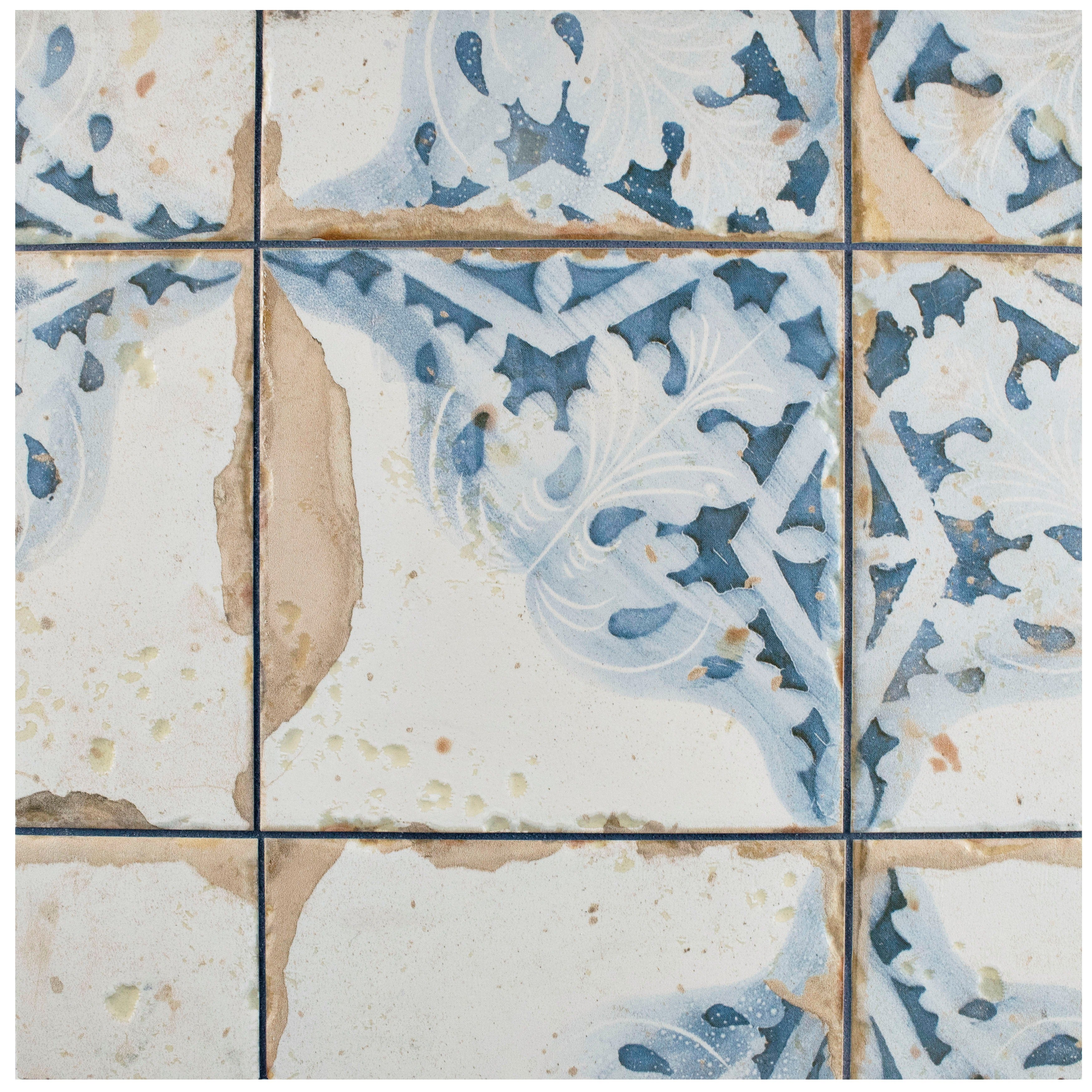 Shop SomerTile 13x13-inch Artesano Azul Decor Ceramic Floor and Wall ...