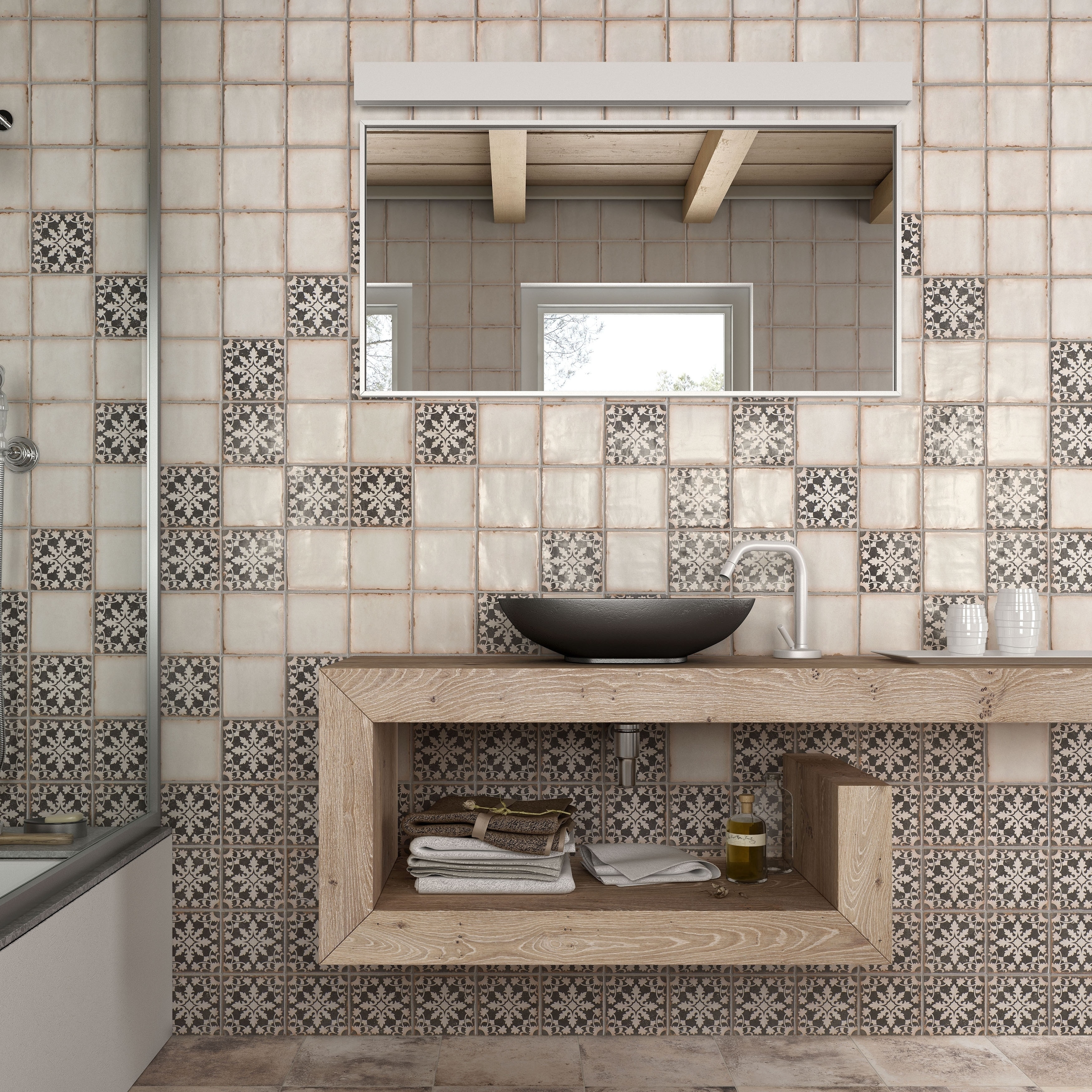 SomerTile 4.875x4.875-inch Chronicle Bakula Ceramic Floor and Wall ...