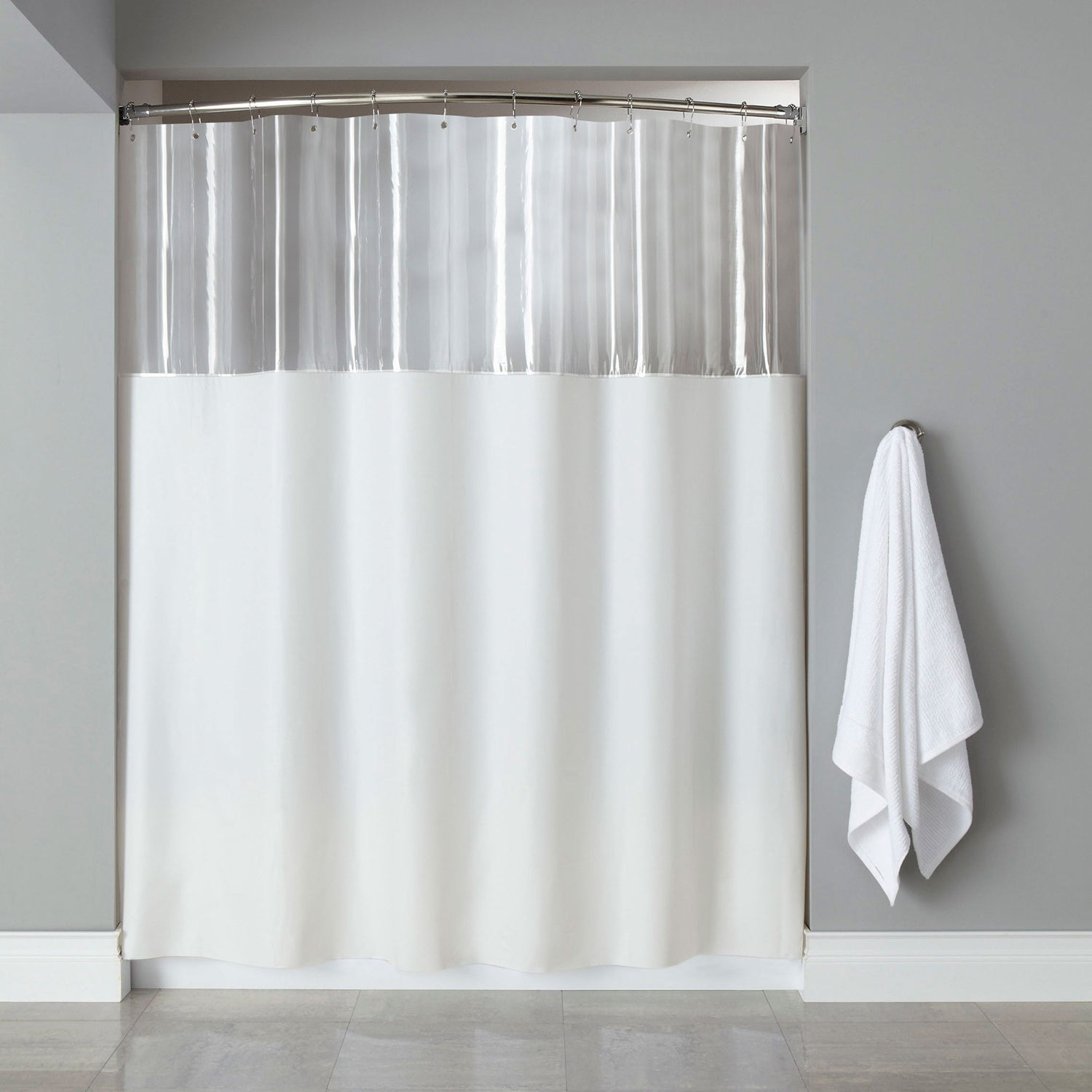 Shop Extra Long Mildew Resistant Clear White Shower Curtain